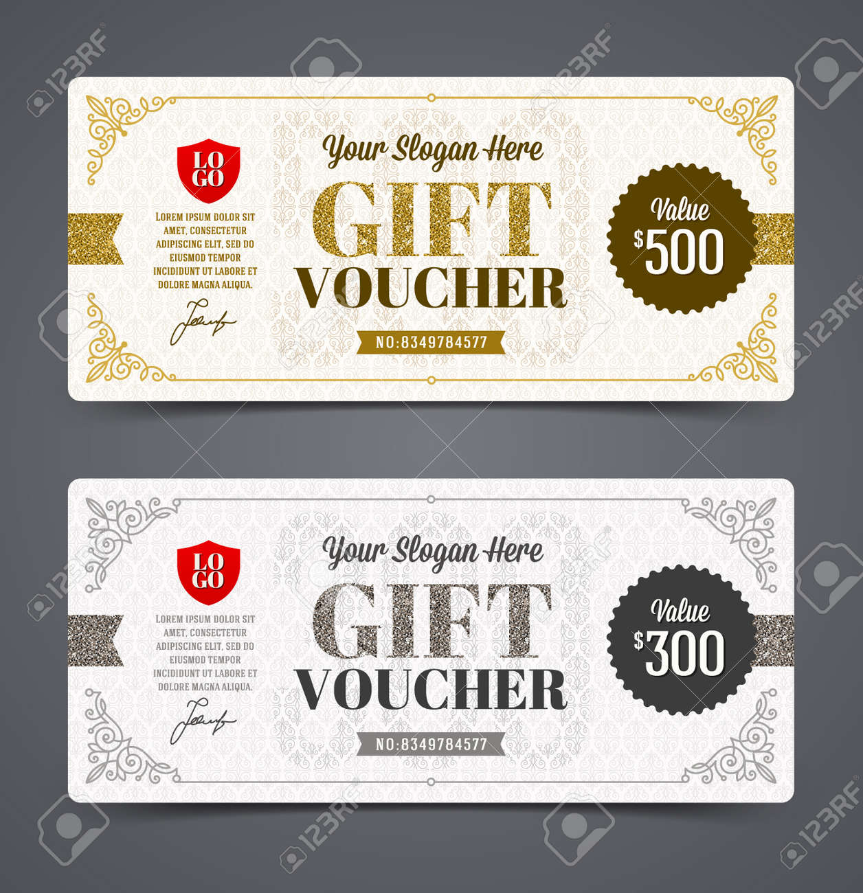 Gift Voucher Template With Glitter Gold And Silver Vector – Ticket Voucher Template