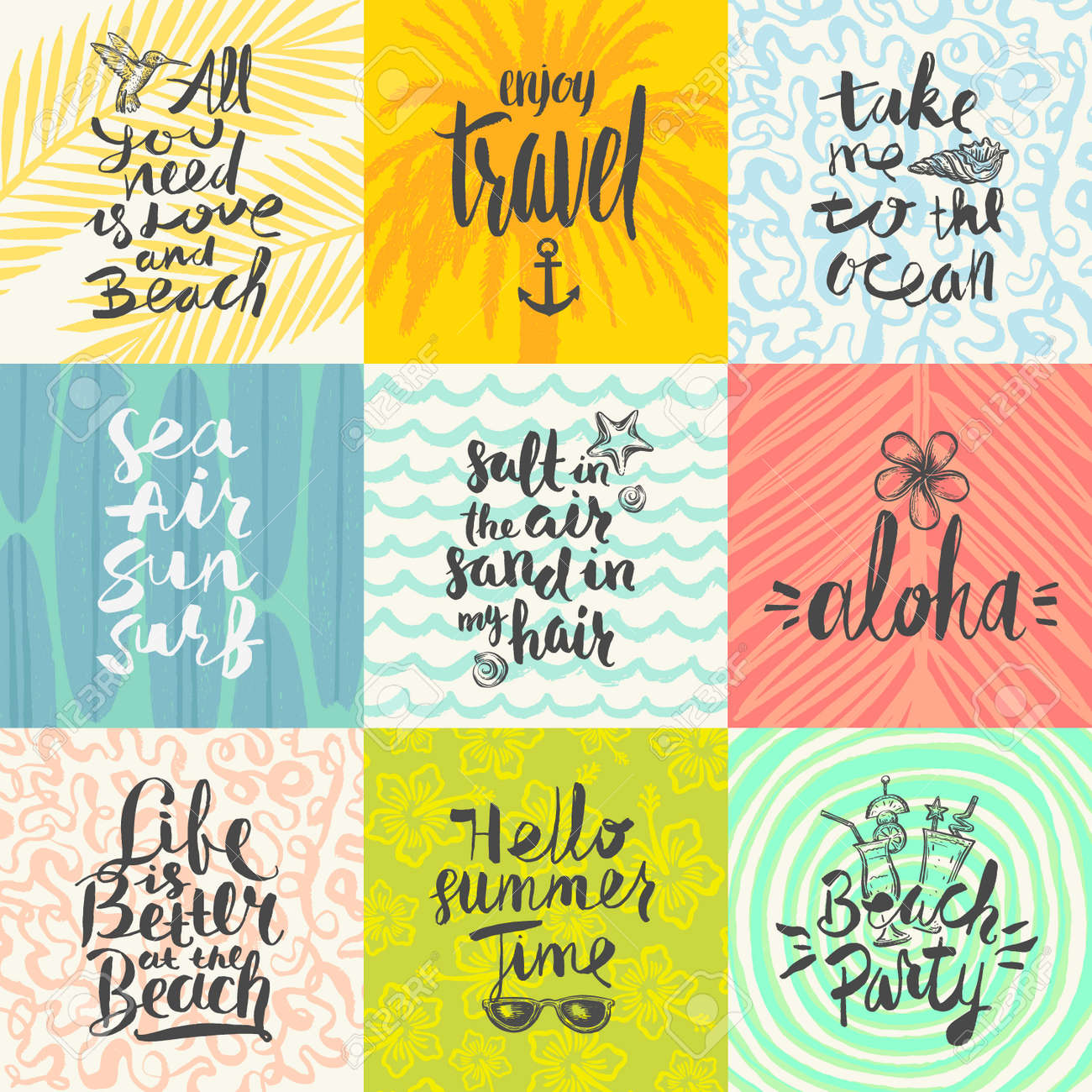 set of summer holidays and tropical vacation hand drawn posters