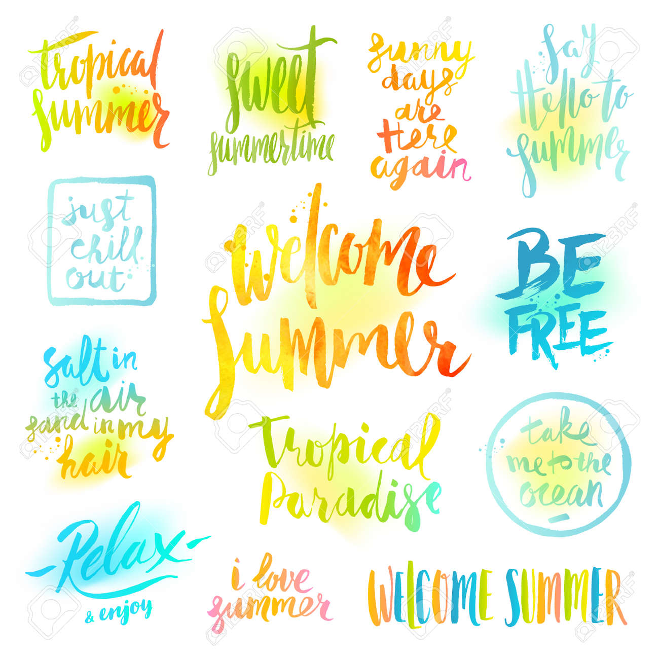 Set Of Calligraphy Summer Holidays And Vacation Greetings