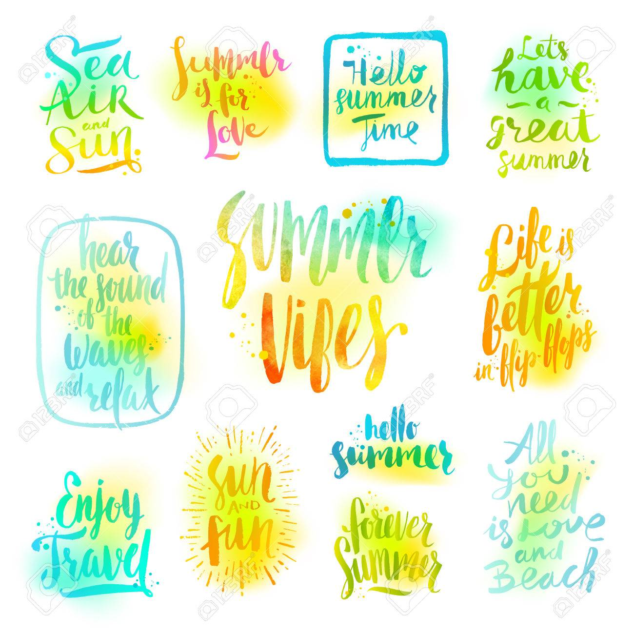 91 summer vacation quotes hello summer images and happy cards summer holidays and vacation greetings quotes phrases set ofcalligraphy stock vector m4hsunfo