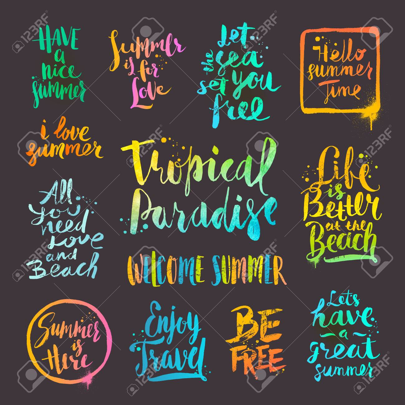 Summer Holidays And Vacation Quotes Phrases And Greetings Set