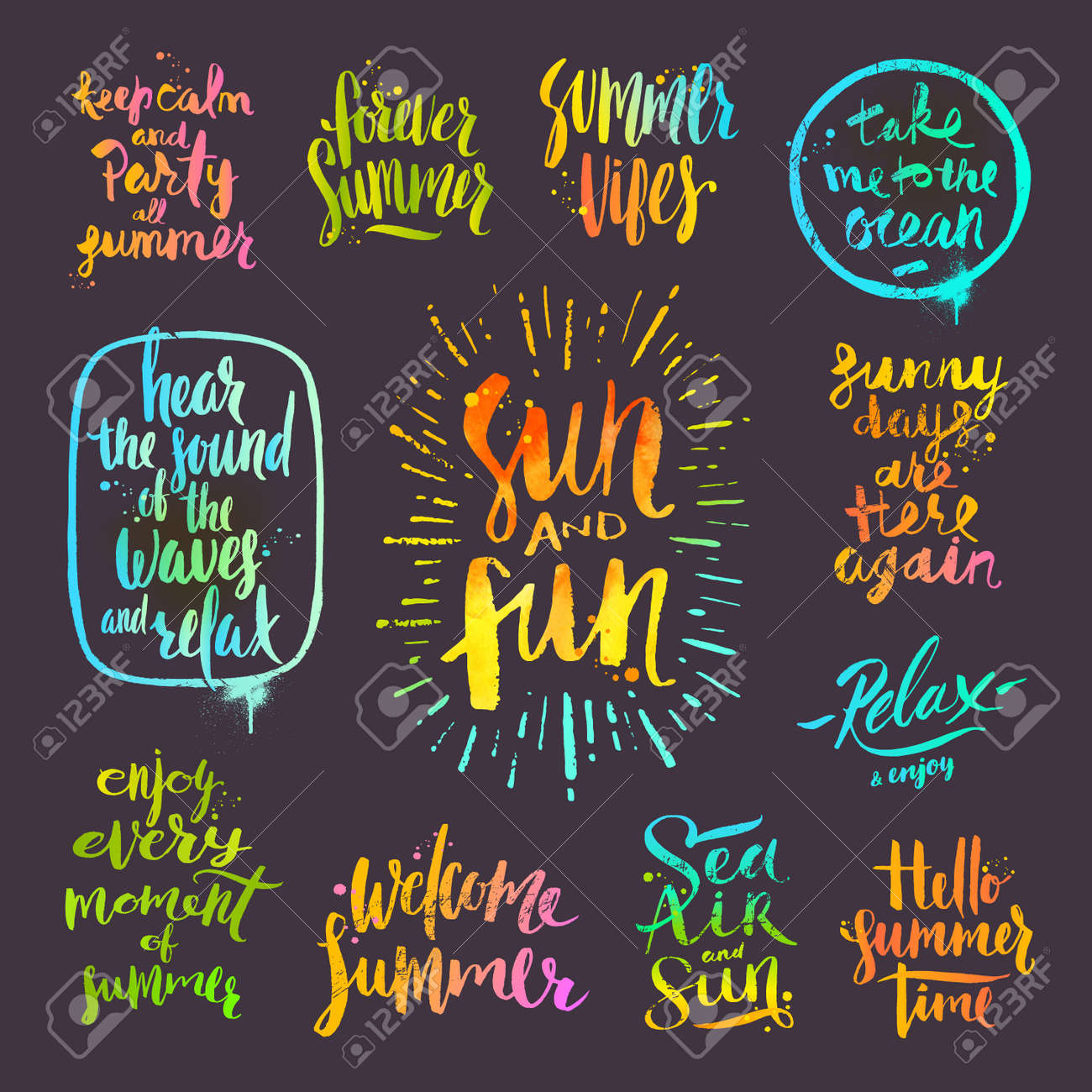 Set Of Calligraphy Summer Holidays And Vacation Quotes Phrases