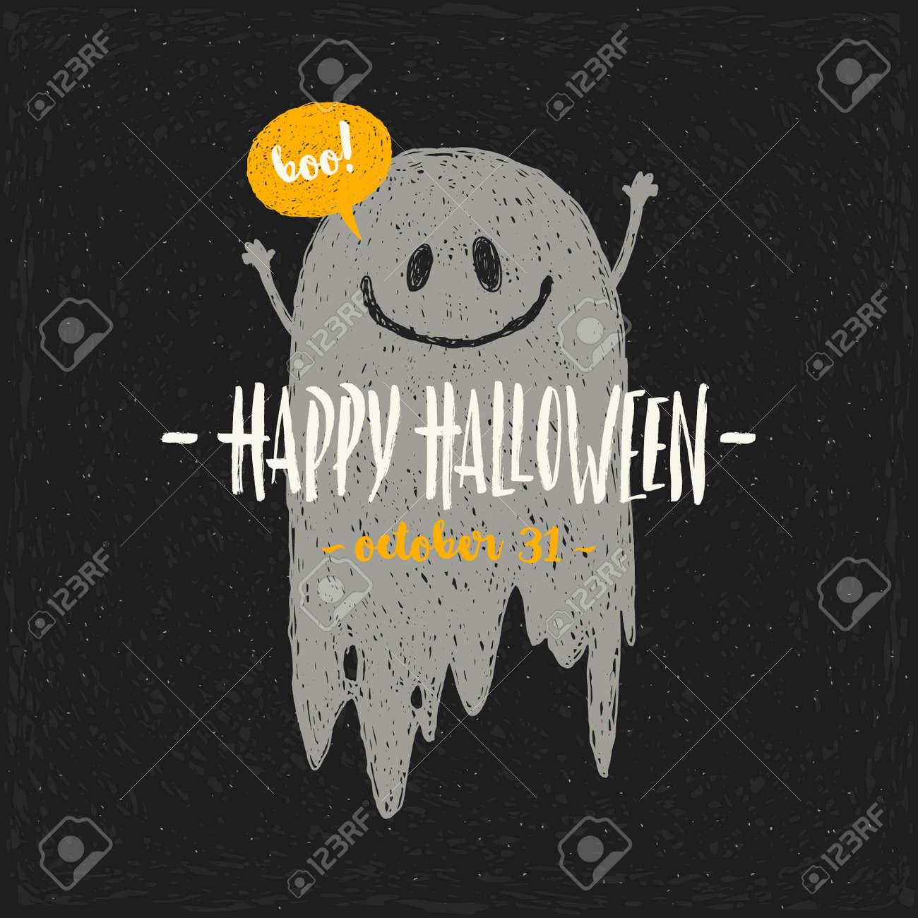 illustration vectorielle de halloween avec fantôme et salutation