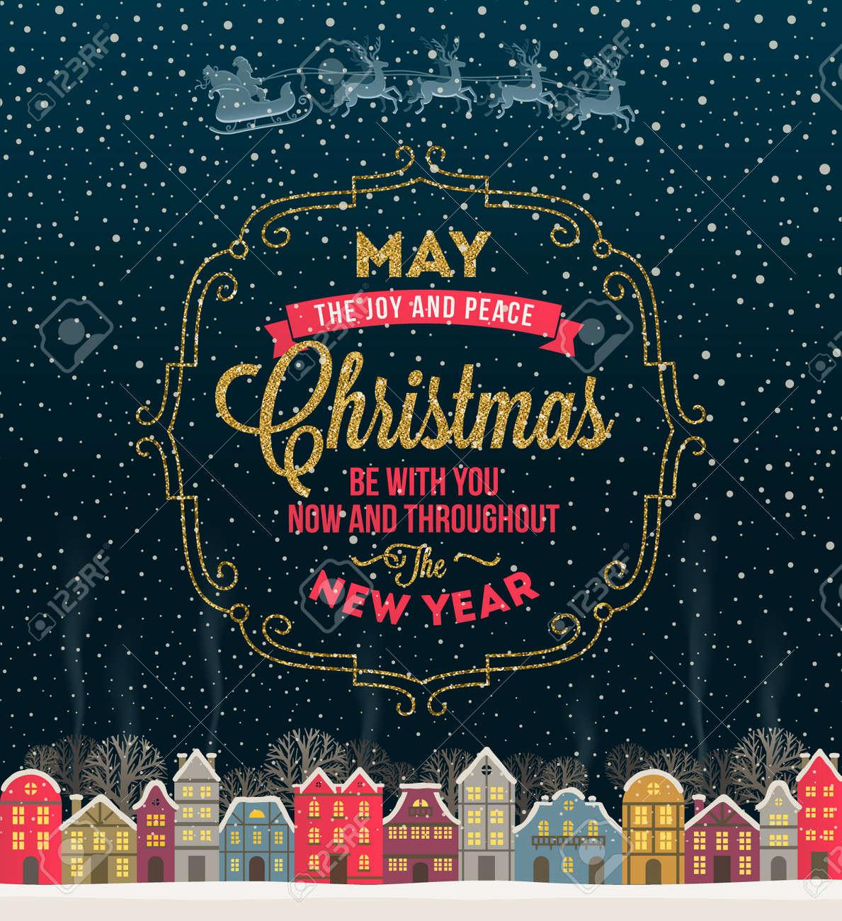 Immagini Glitterate Di Natale.Auguri Di Natale Design Tipo Con Frame Glitter Oro E La Citta D Inverno Dalla Neve