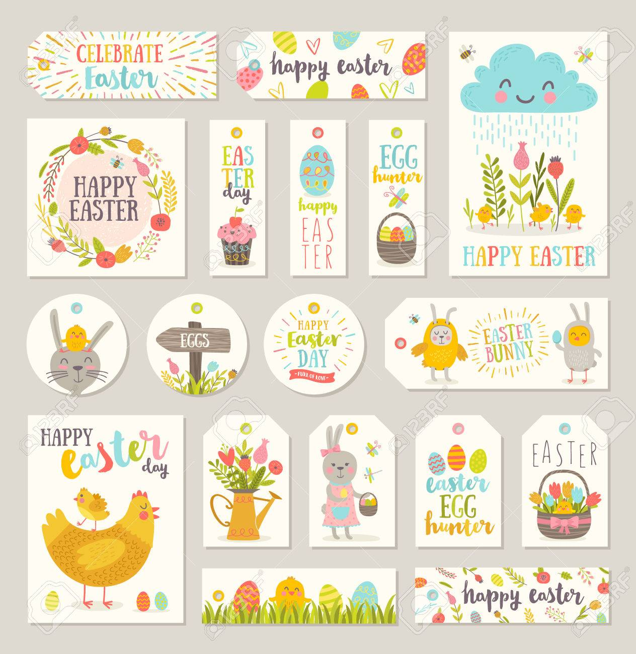 Set of easter gift tags and labels with cute cartoon characters set of easter gift tags and labels with cute cartoon characters and type design stock negle Gallery