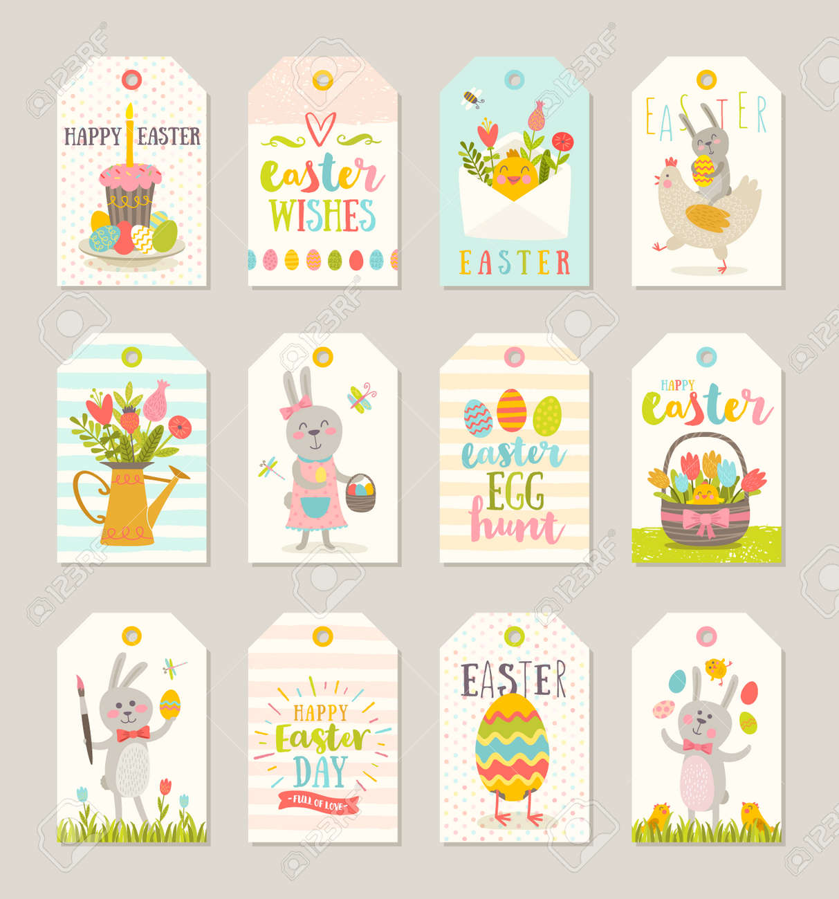 set of easter gift tags and labels with cute cartoon characters