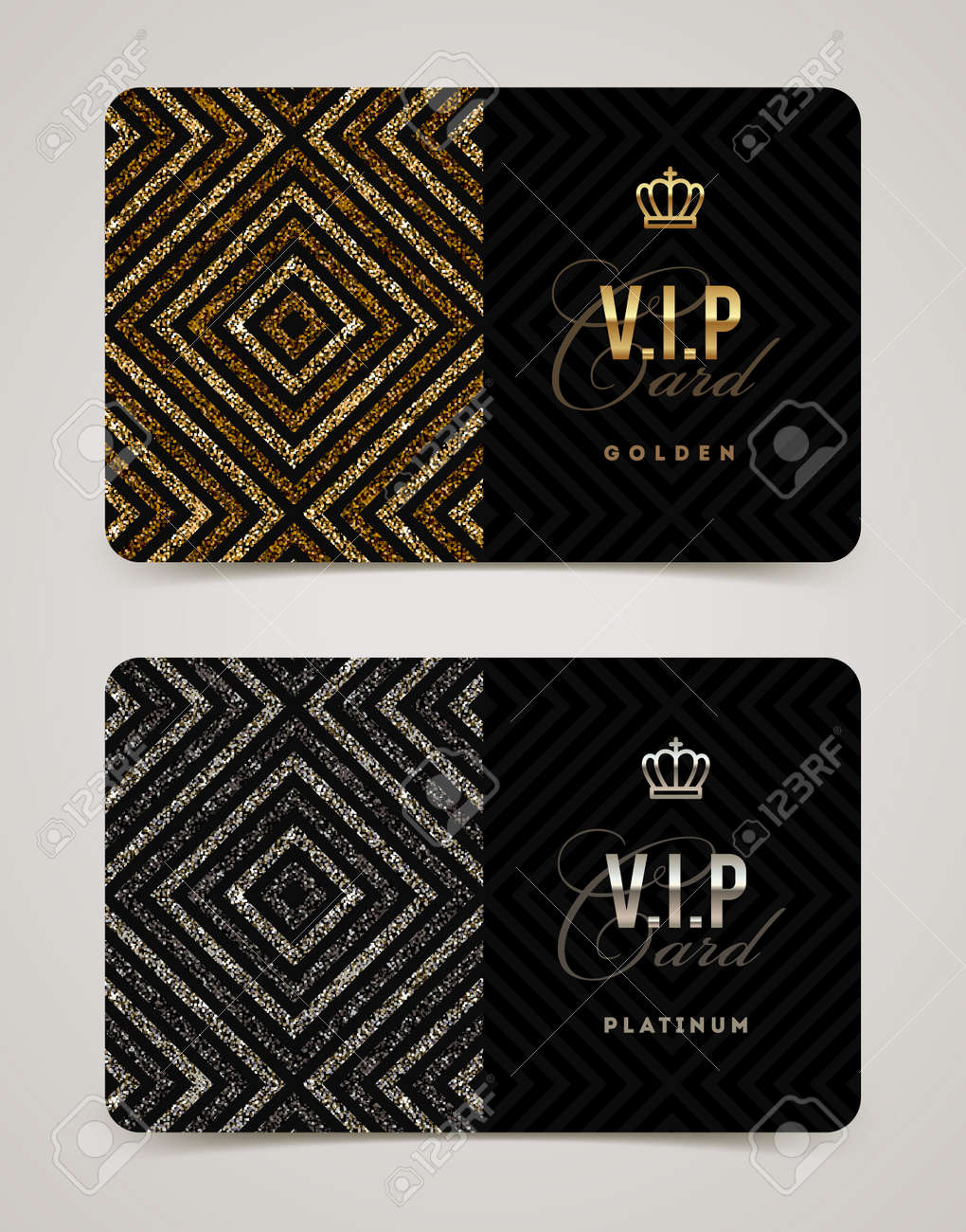 aa4c1c4bdeb37 Foto de archivo - Plantilla de oro y platino tarjeta VIP. Ilustración del  vector.
