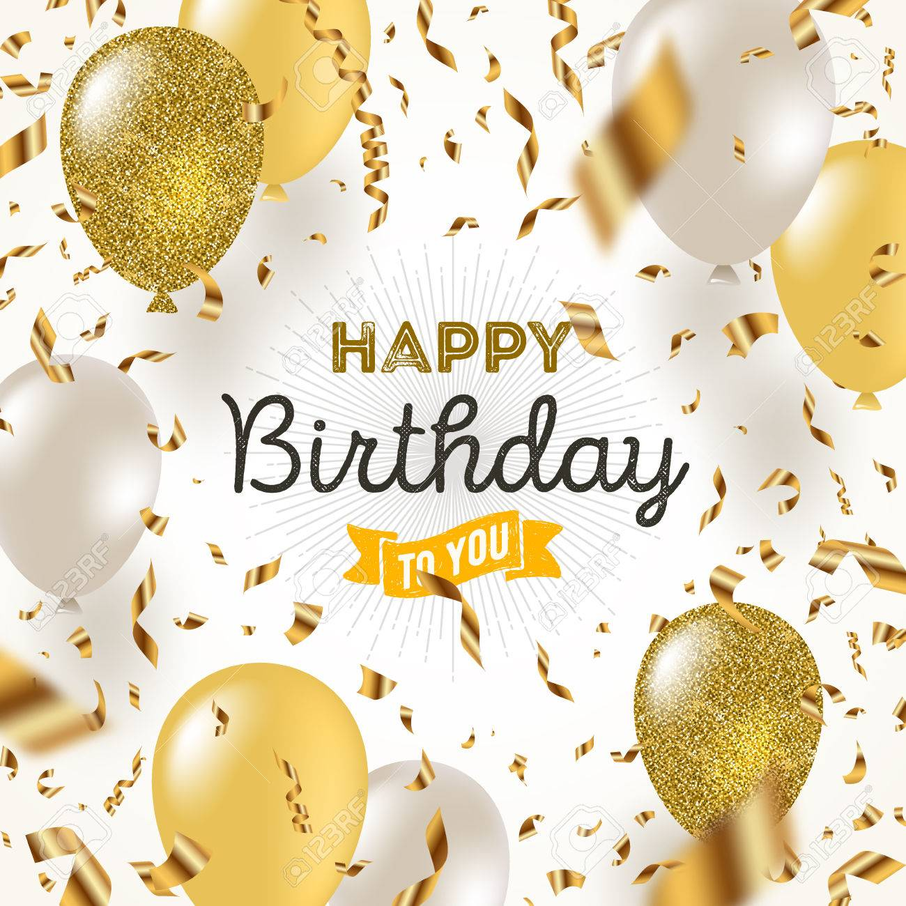 Happy birthday vector illustration - Golden foil confetti and white and glitter gold balloons. - 79409454