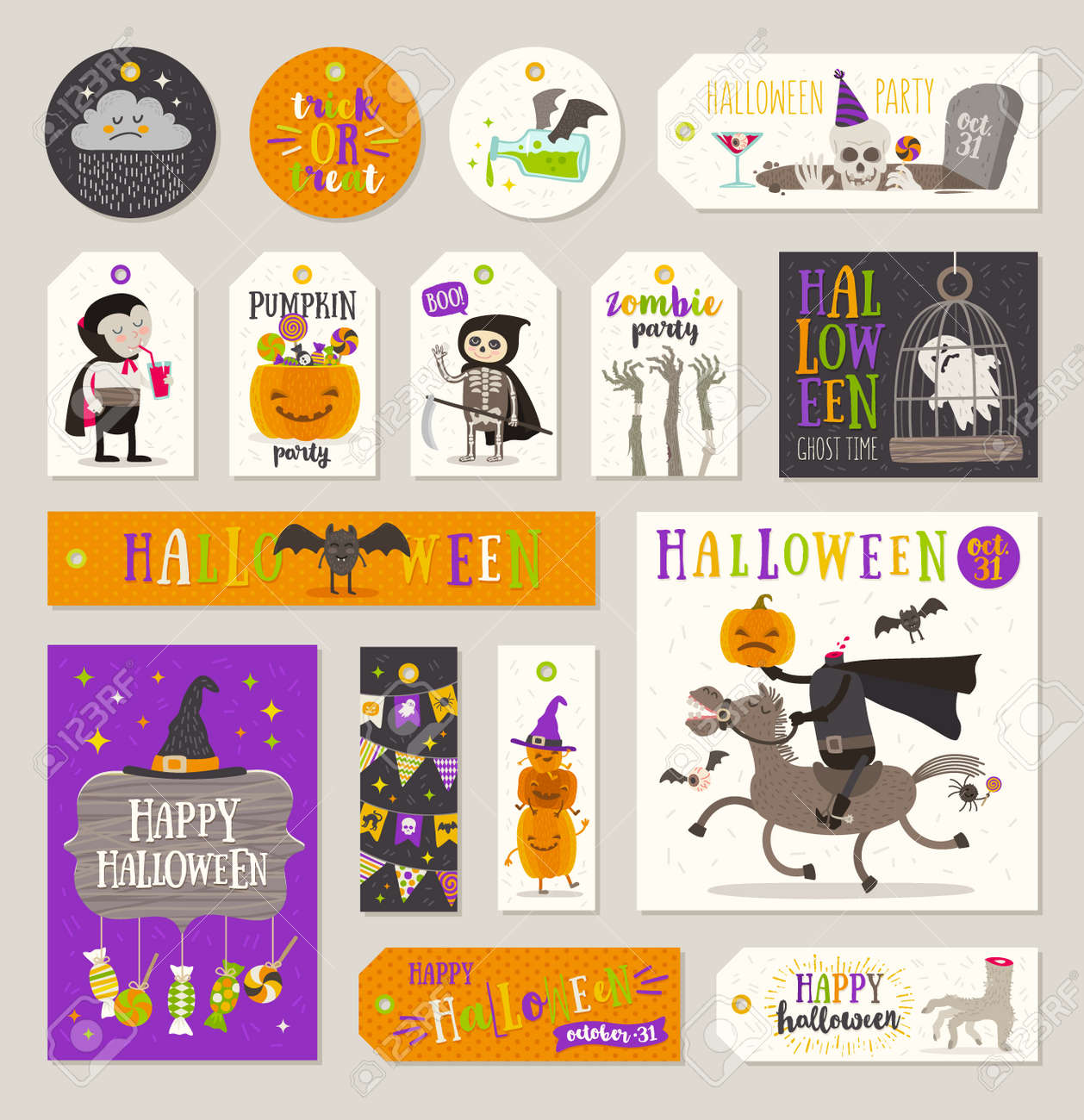Halloween Gift Tags.Set Of Halloween Gift Tags And Labels With Cartoon Characters