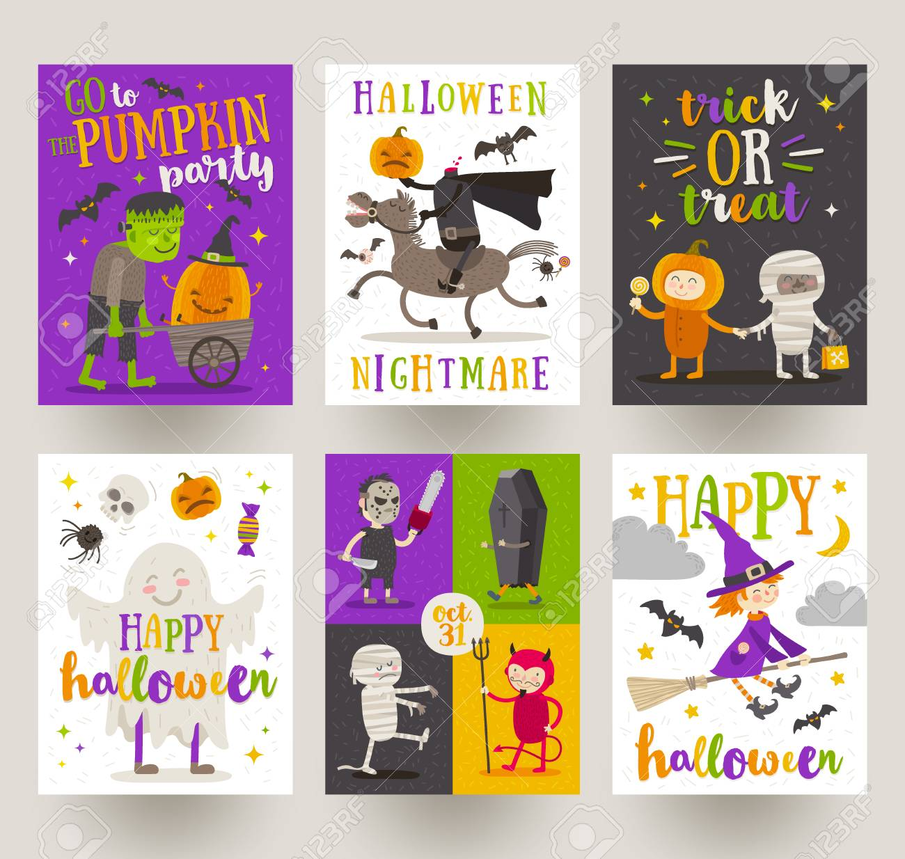 Set of halloween posters or greeting card with cartoon characters set of halloween posters or greeting card with cartoon characters holiday sign symbols and kristyandbryce Gallery
