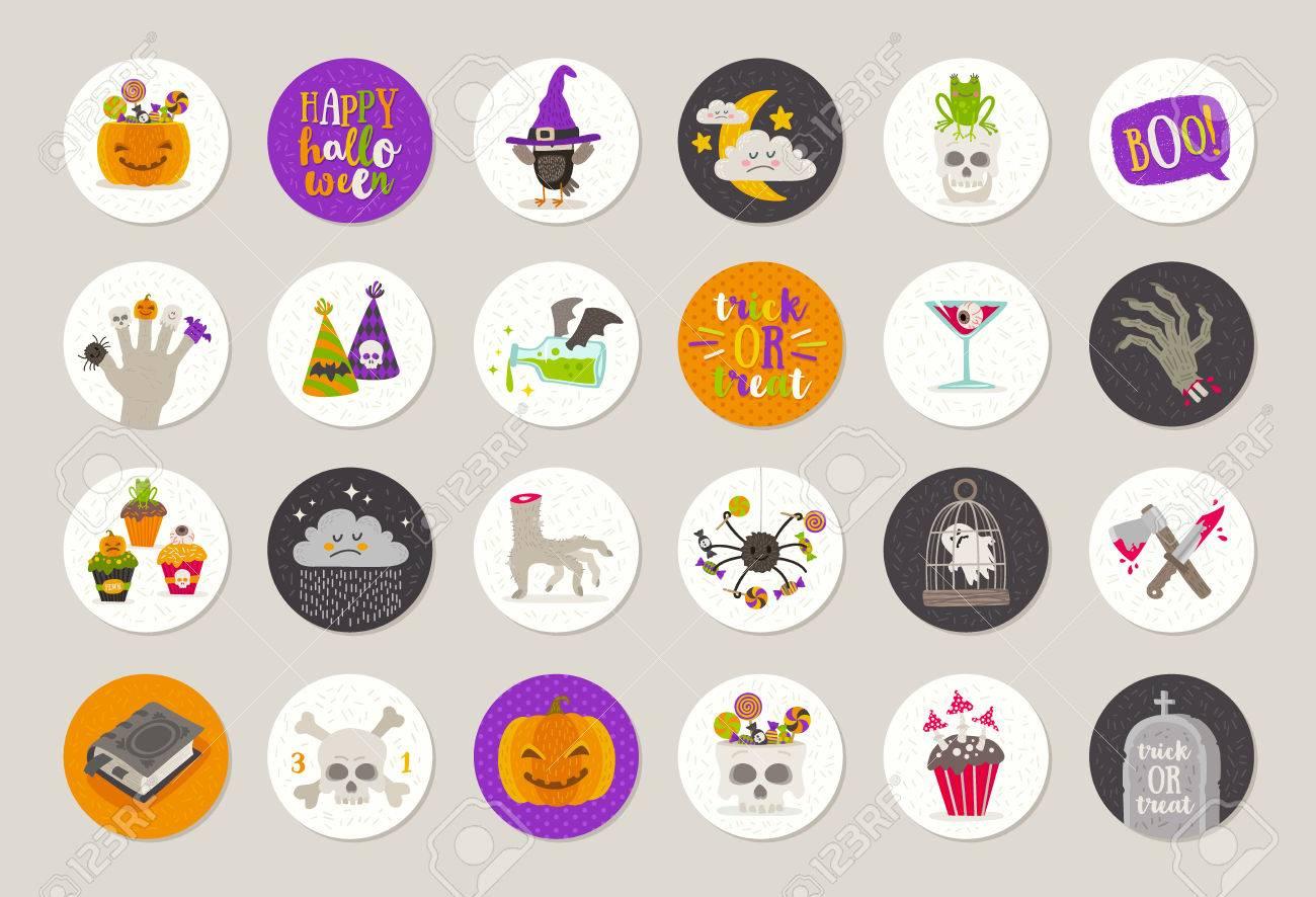 ensemble d'étiquettes et étiquettes de cadeaux de halloween avec