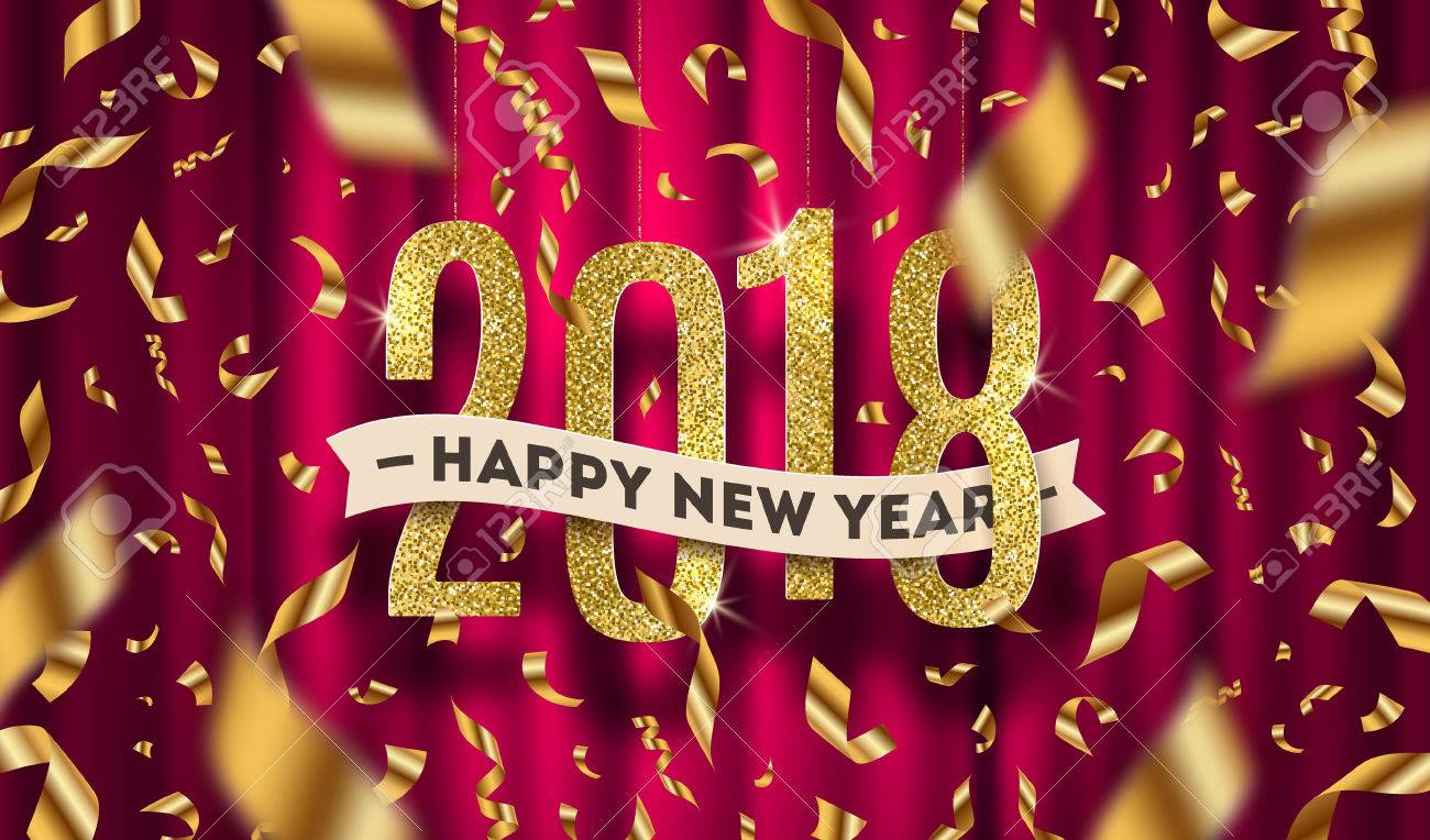 happy new year 2018 greeting vector illustration glitter gold numbers and golden foil confetti on