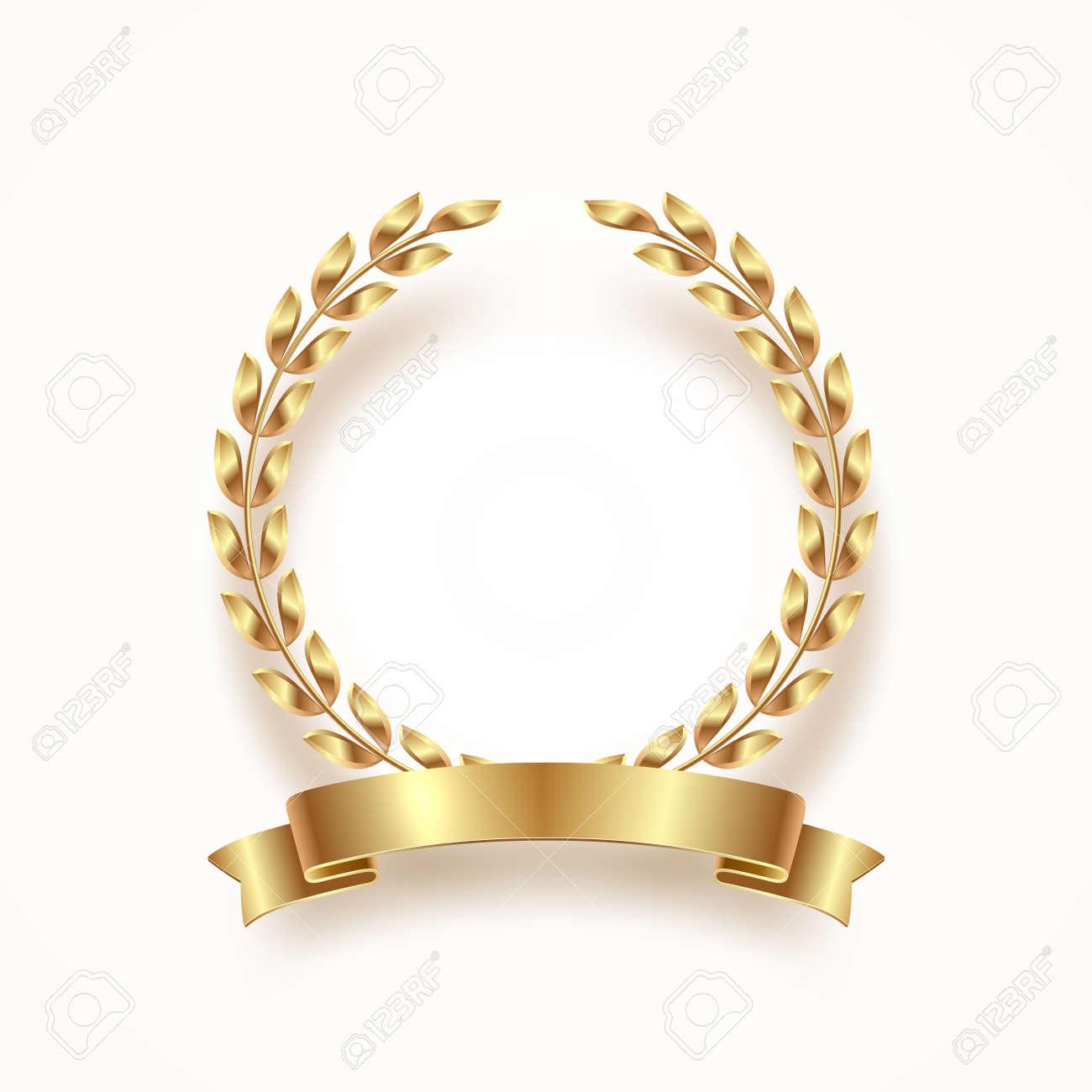 Golden laurel wreath with ribbon. Vector illustration. - 99486783