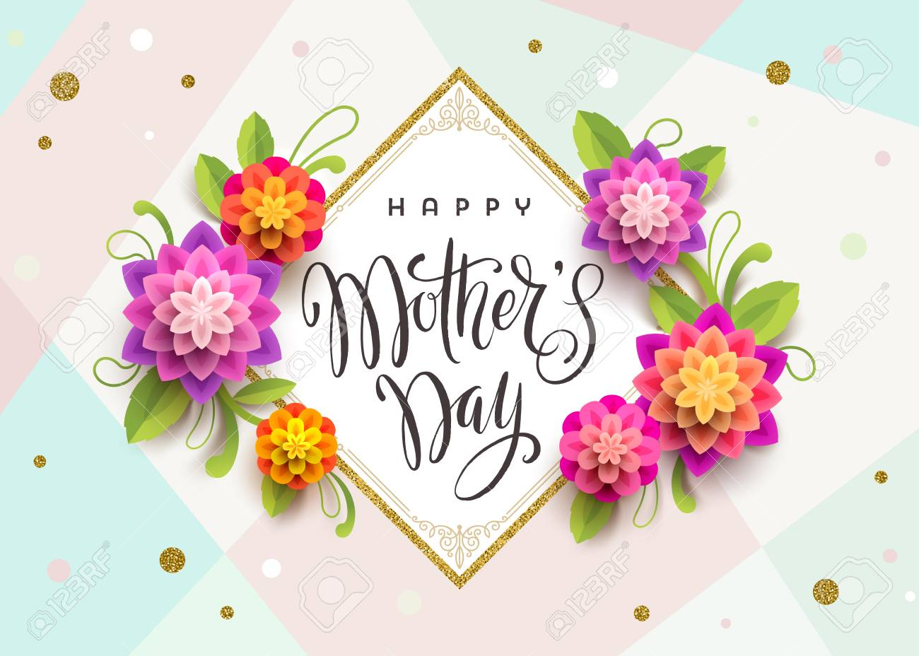 Happy mothers day greeting card with brush calligraphy greeting happy mothers day greeting card with brush calligraphy greeting and flowers vector illustration m4hsunfo