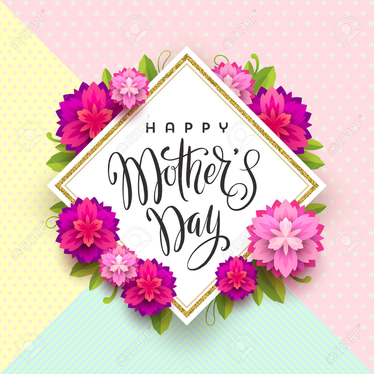Happy mothers day greeting card brush calligraphy greeting happy mothers day greeting card brush calligraphy greeting and flowers on a pattern background m4hsunfo