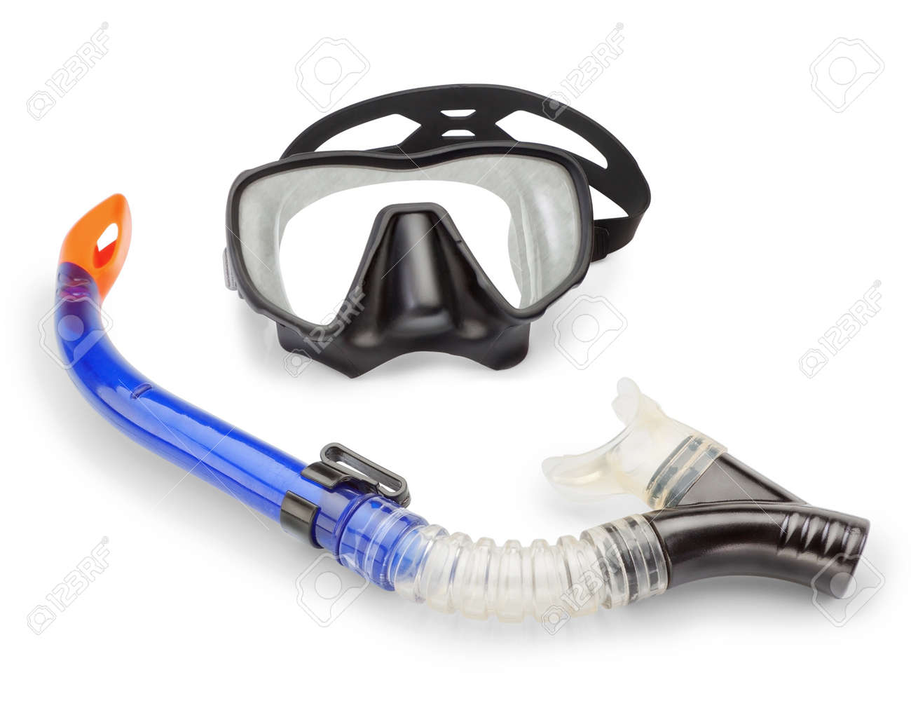 Mask and snorkel diving and spearfishing  On a white background Stock Photo - 18383830