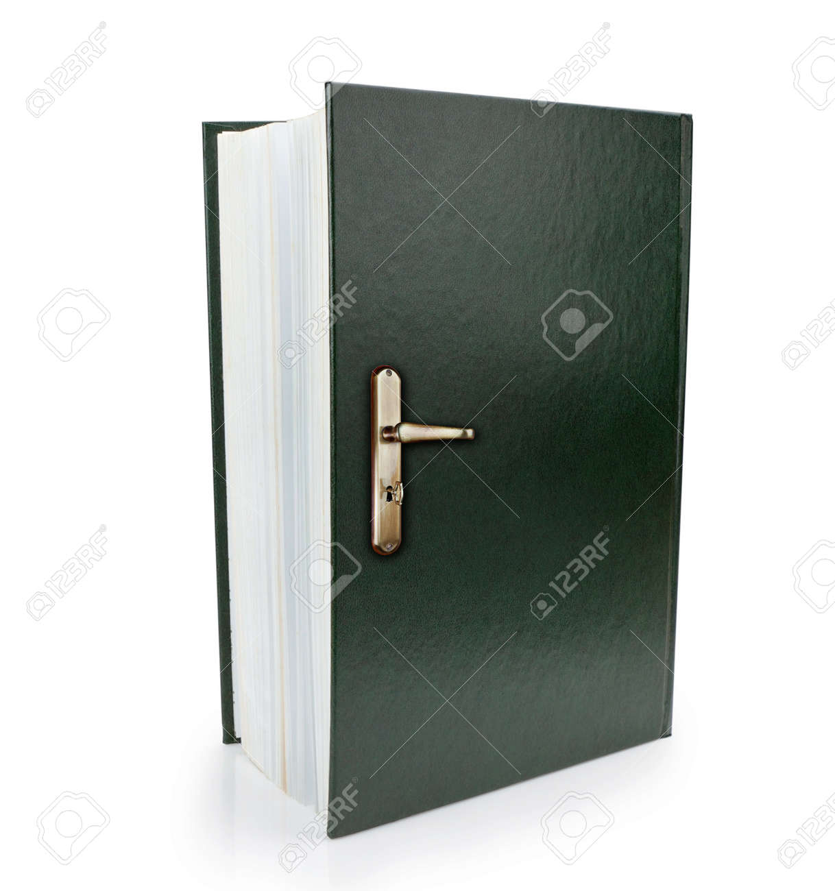 Open Book And Doorknob Symbol Of Gaining Knowledge And Wisdom Stock