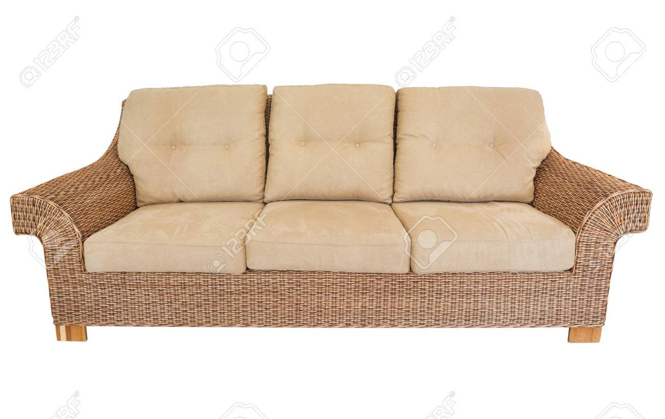 Modern Straw Sofa In Retro Style On A White Background Stock Photo