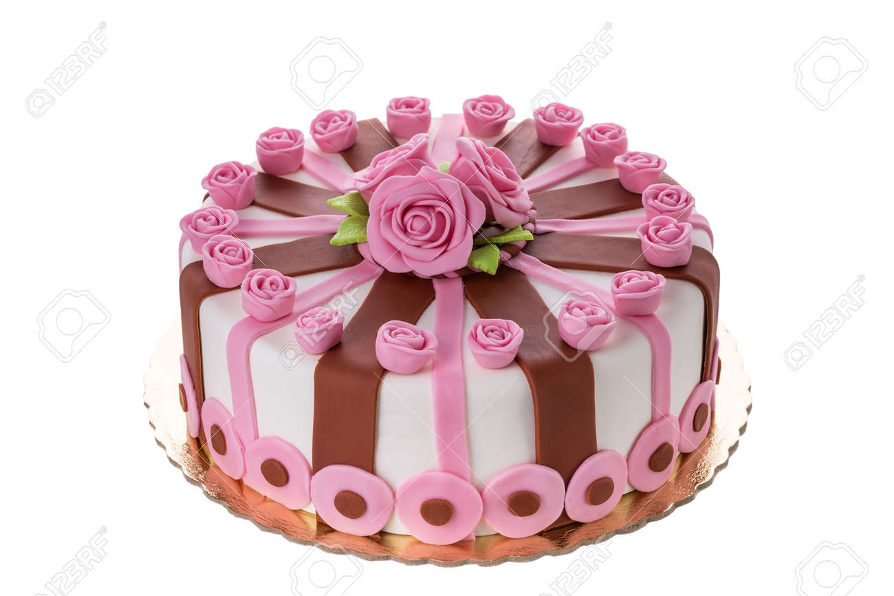 Wonderful Decorative Cake Flowers Roses On The Birthday Of His