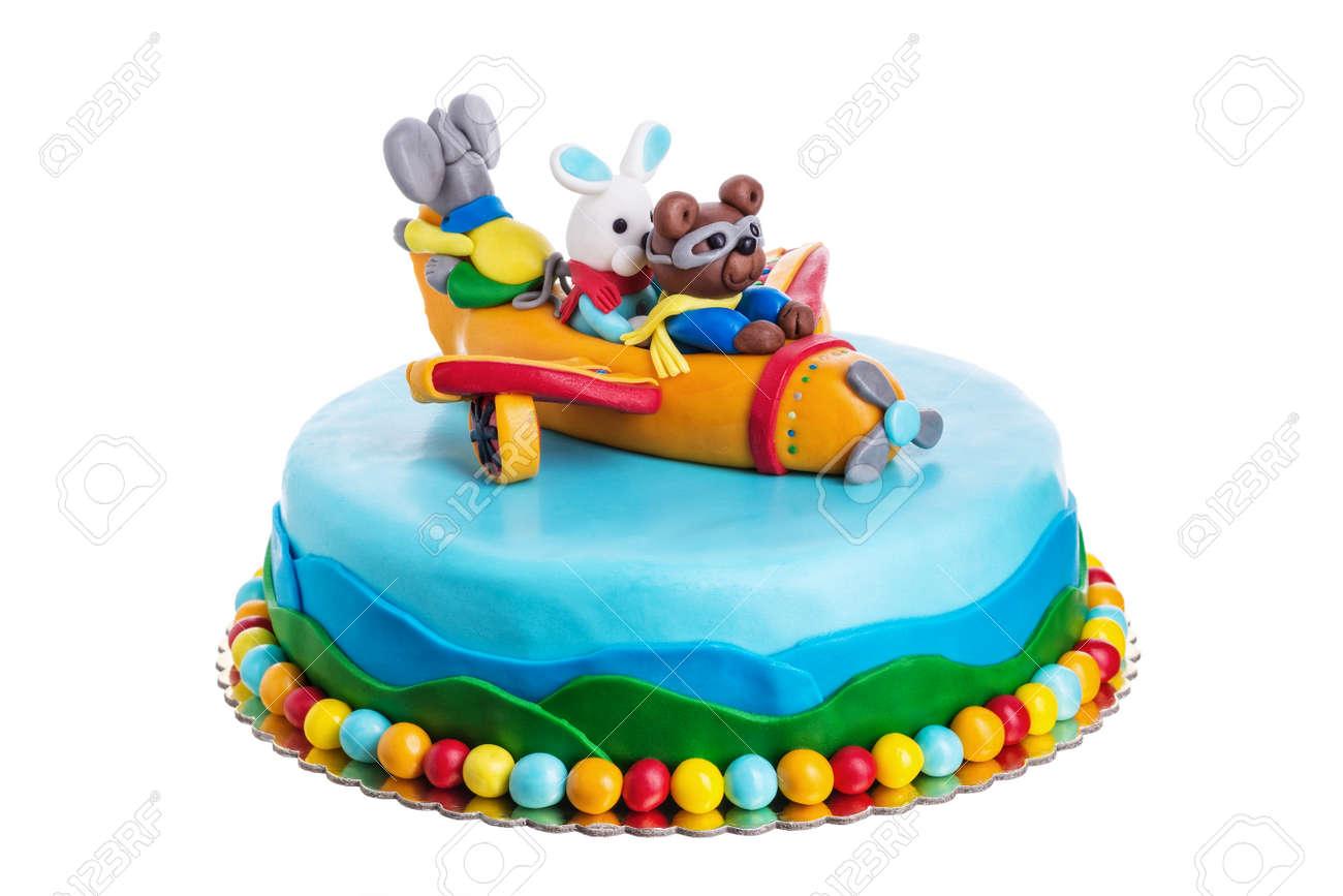 Kreative Kuchen Tiere Geburtstag Der Kinder Auf Einem Weissen