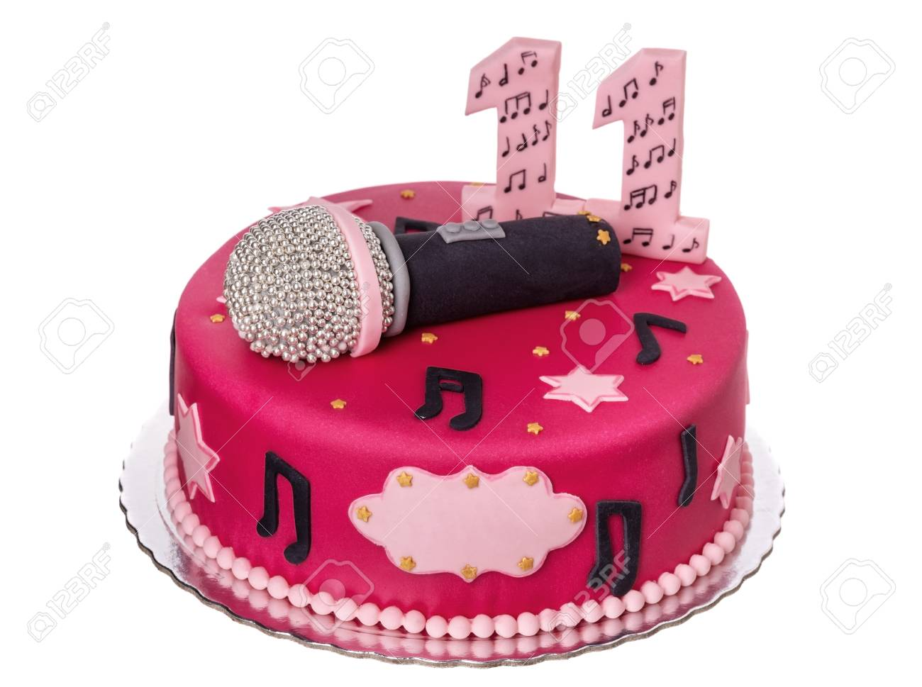 Surprising Festive Cake Microphone For The Birthday Girl Stock Photo Funny Birthday Cards Online Overcheapnameinfo