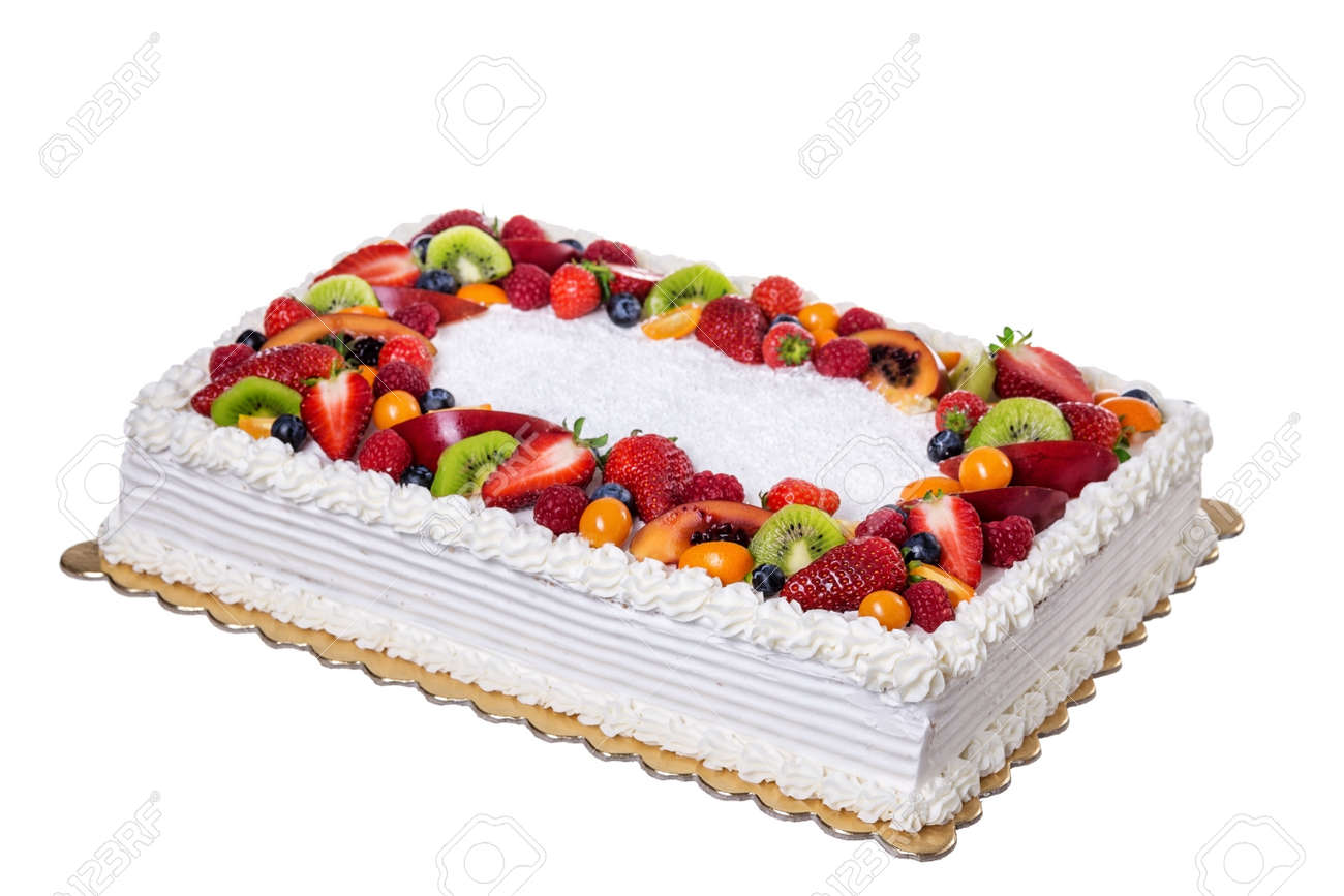 Incredible Fruit Cream Birthday Cake On A White Background Stock Photo Funny Birthday Cards Online Alyptdamsfinfo