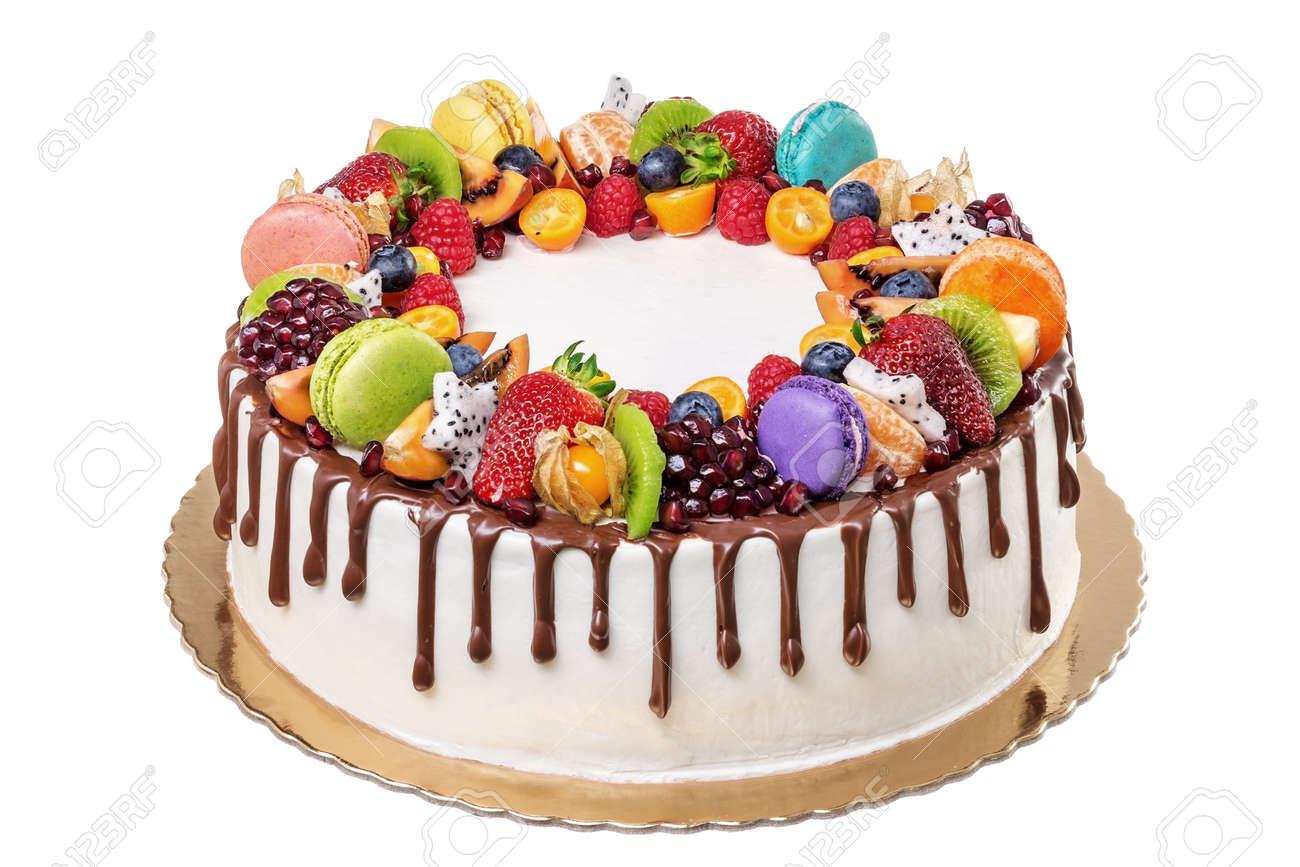 Enjoyable Fruit Chocolate Birthday Cake On A White Background Stock Photo Personalised Birthday Cards Bromeletsinfo
