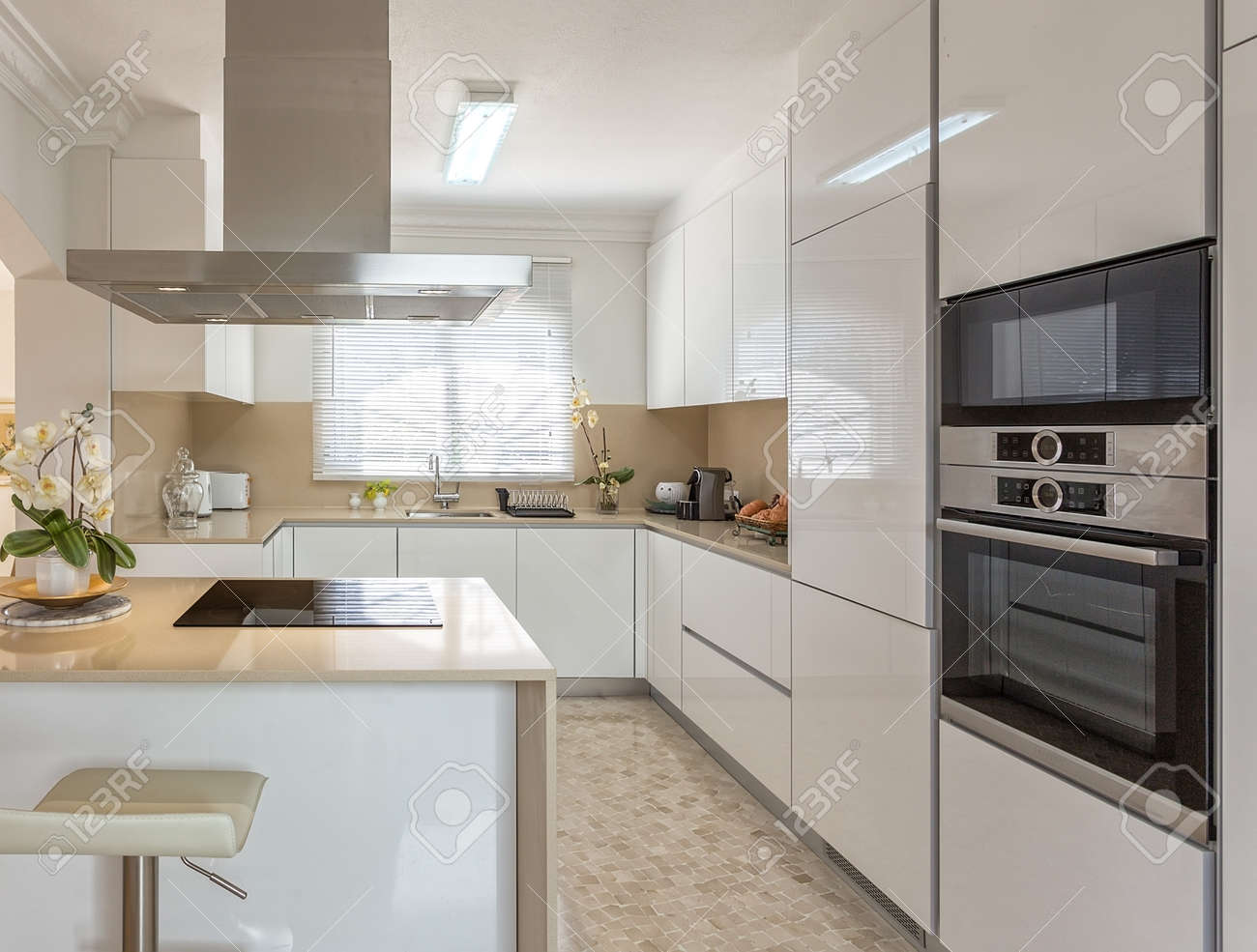 Modern kitchen with electric stove and appliances for use. - 126364422