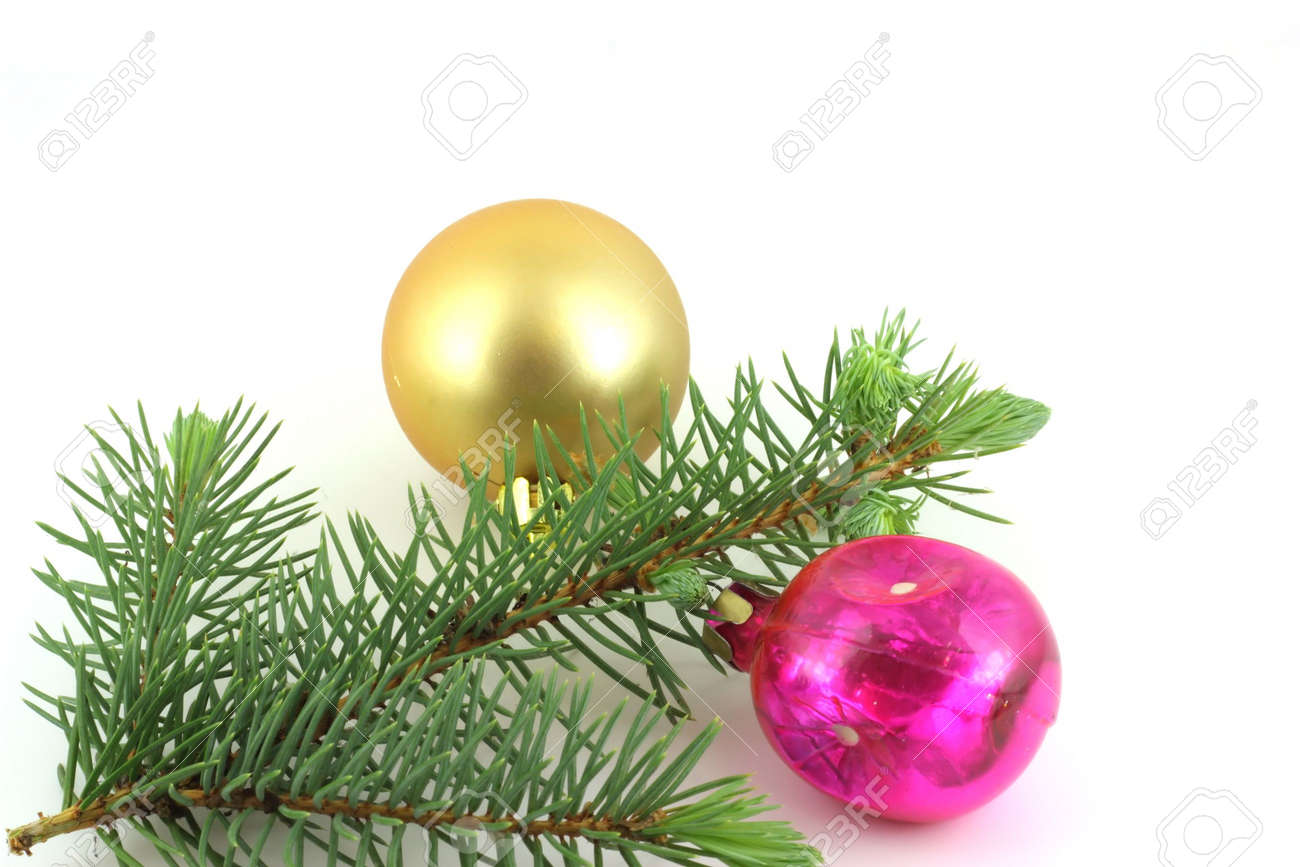 Firry twig and toys (color spheres). Stock Photo - 7173287