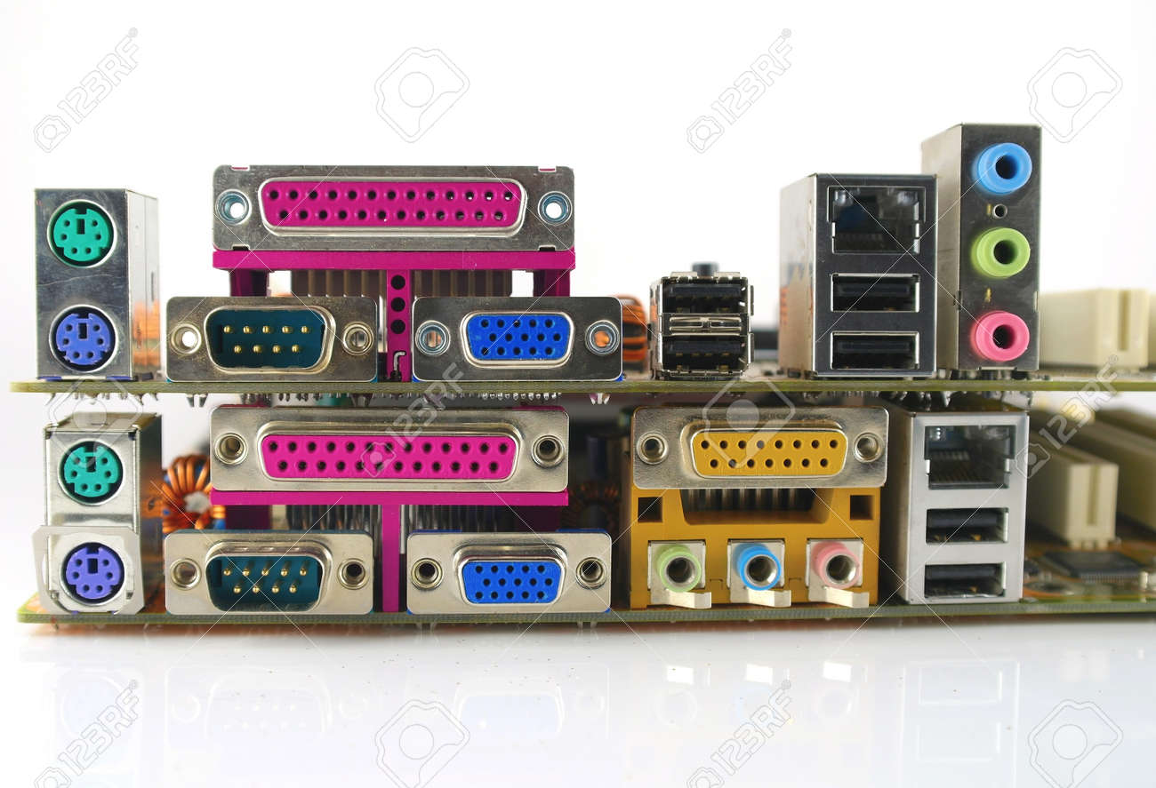 Interface plug-and-sockets of computer main boards Stock Photo - 11744163