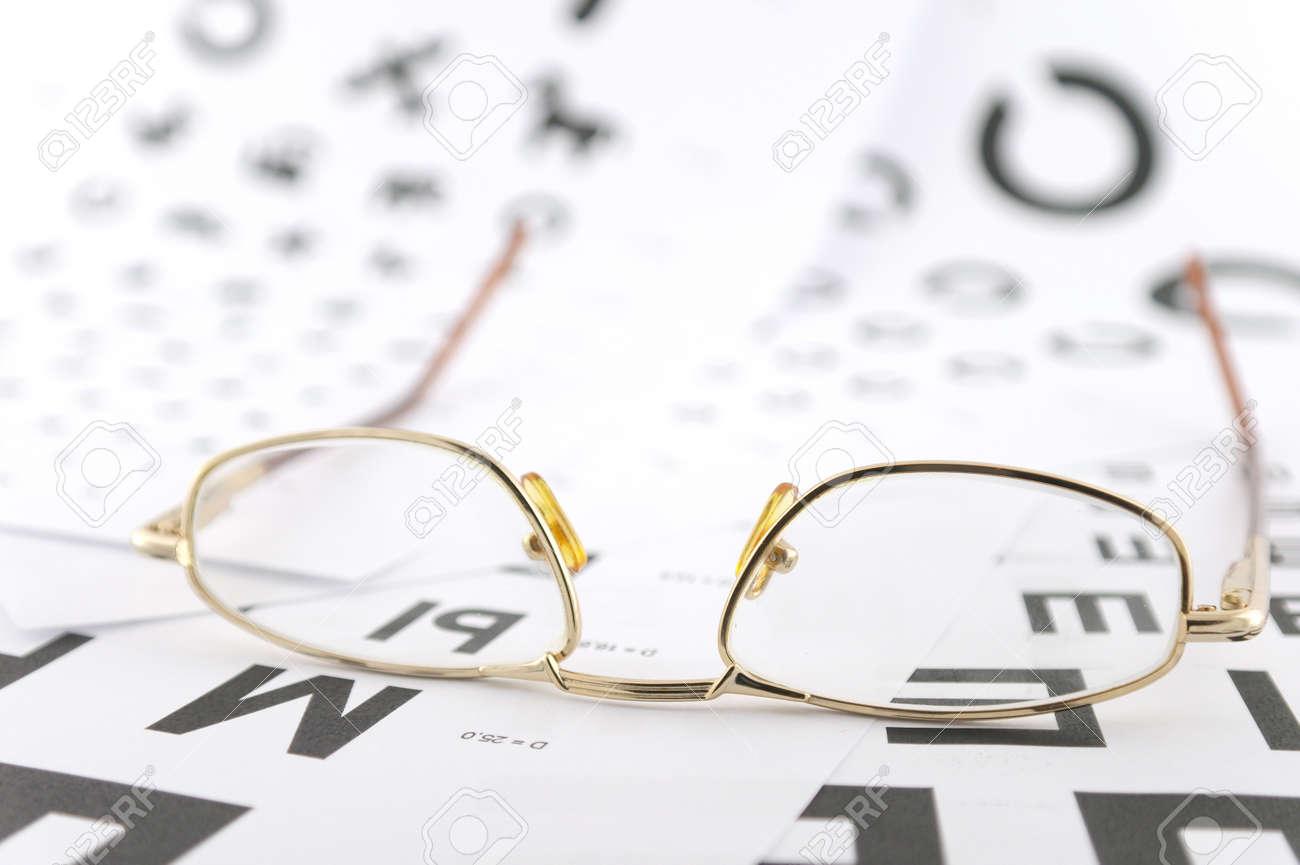 Eyeglasses on the ophthalmologic scales. Shallow DOF. Stock Photo - 11873754