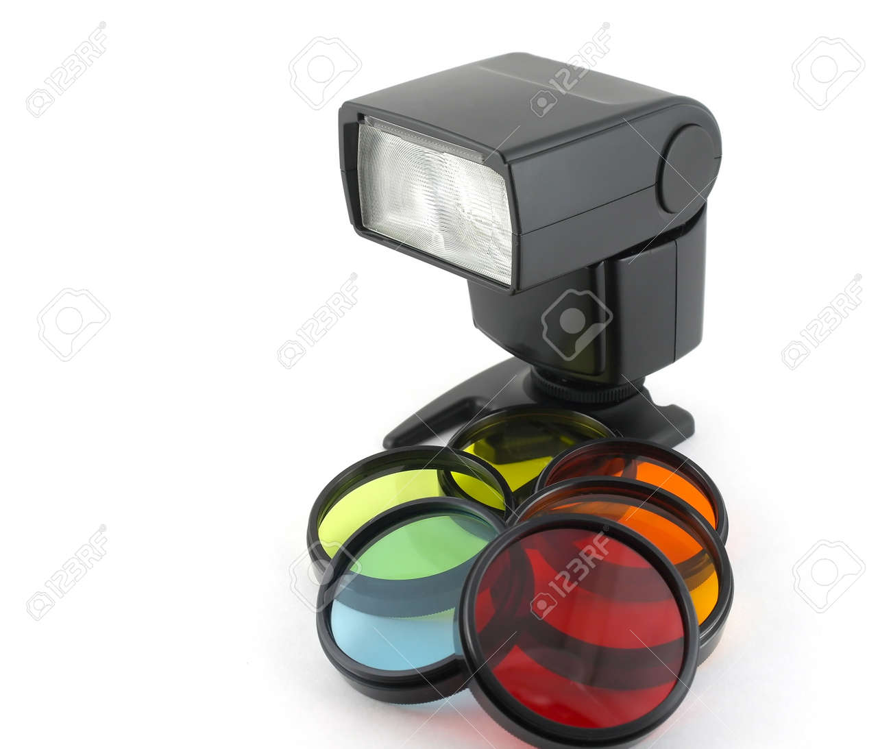 Color filter for lenses and photoflash over white Stock Photo - 12085625