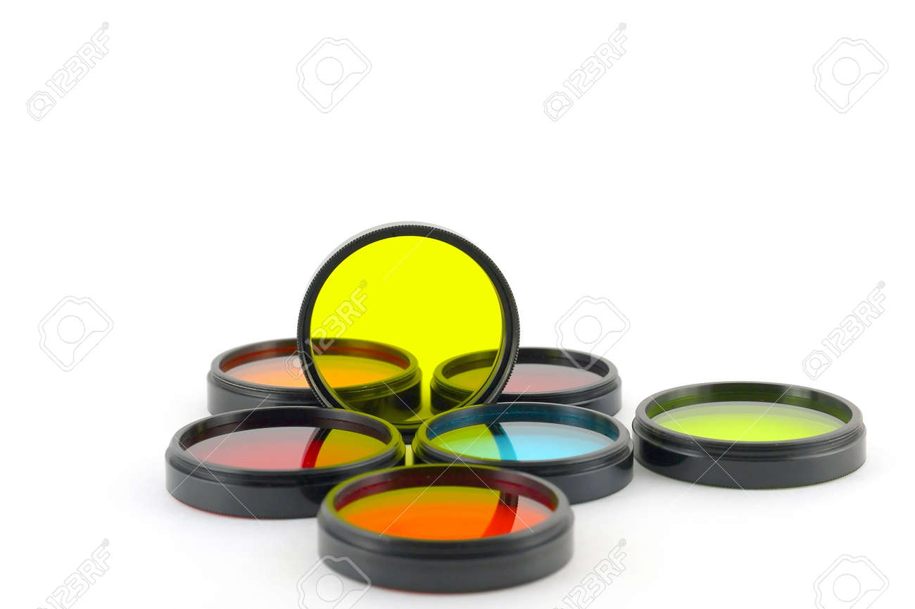 Color filters for lenses over white Stock Photo - 13395995