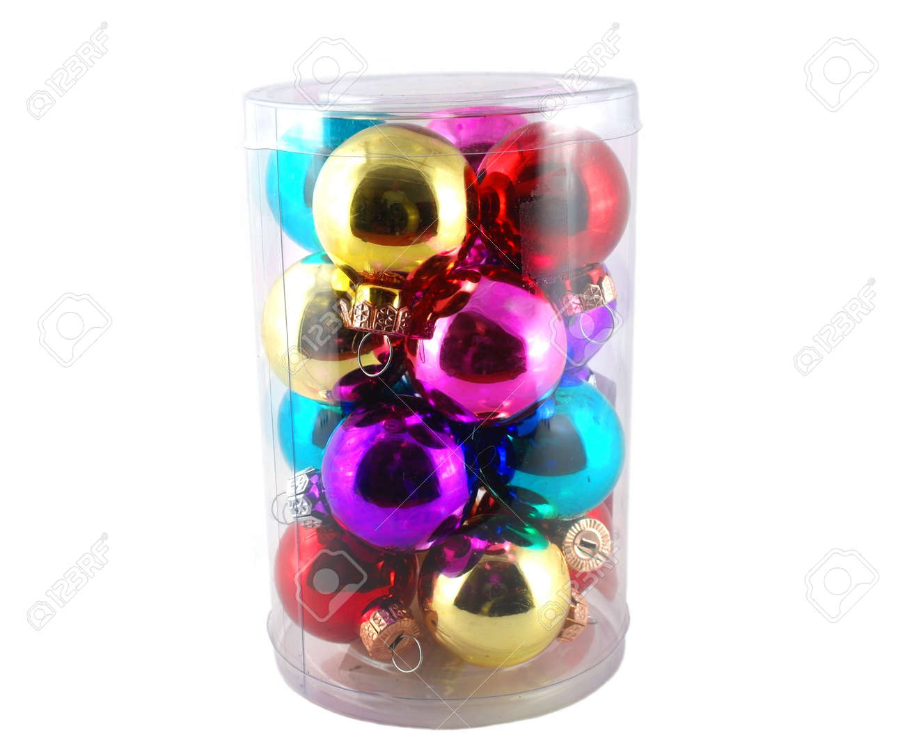Color Christmas balls in cylindrical plastic case Stock Photo - 17255867