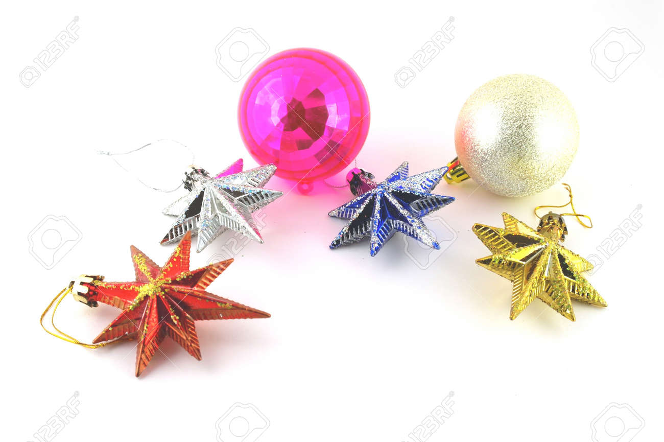 Holiday decoration, color balls, stars for New Year's tree Stock Photo - 17441782