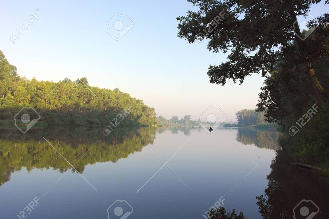 Beautiful summer landscape with river and forest Stock Photo - 30180085