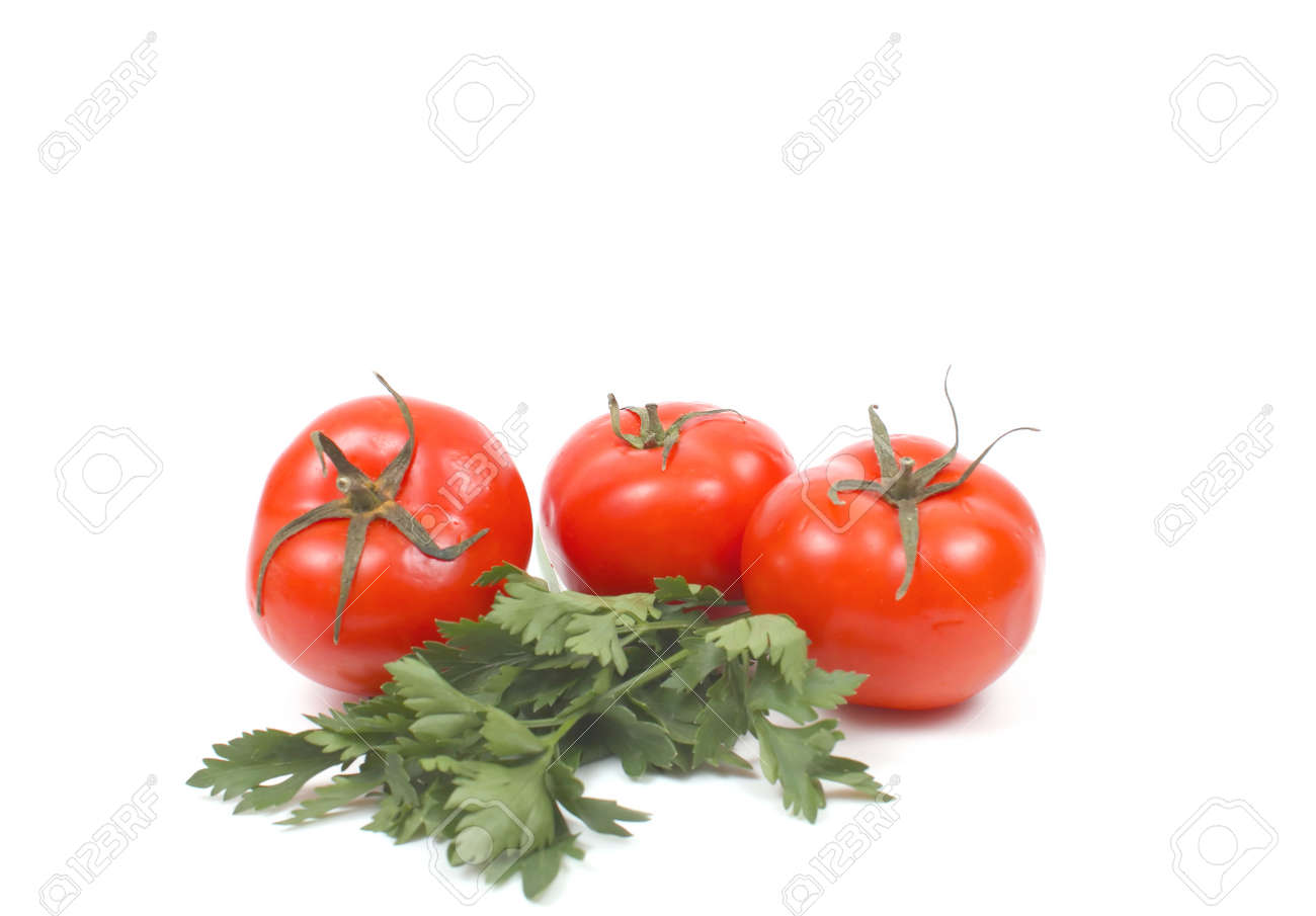 Tomatoes with parsley over white Stock Photo - 30714631