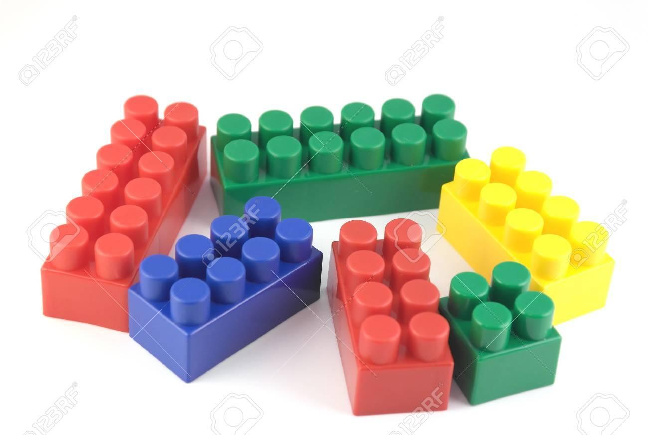 Color components of child's meccano over white Stock Photo - 33197989