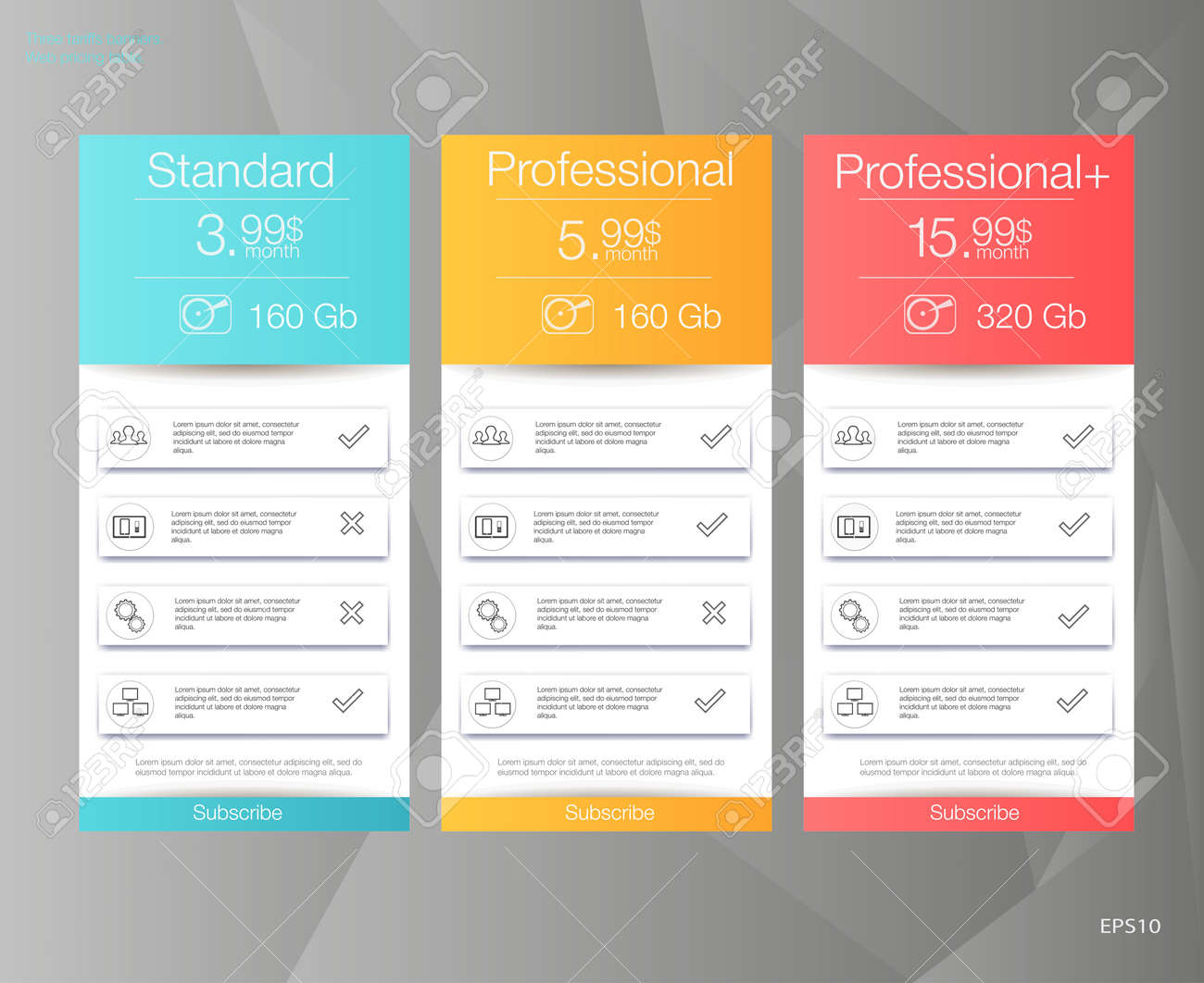 three tariffs banners web pricing table vector design for web