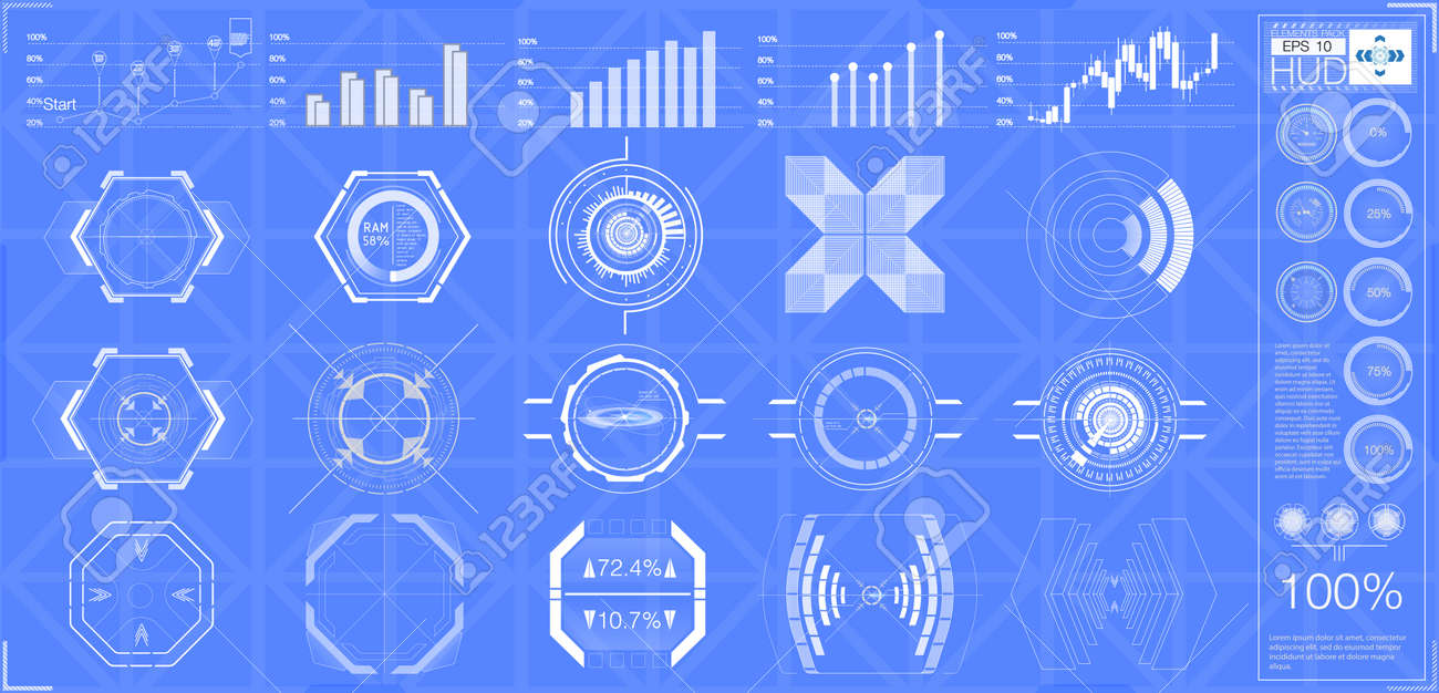 Big Set Hud Elements Graphics Displays Analog And Digital Electric Circuit Symbol Element Illustration Vectorielle Libre De Banque Dimages Instruments Radar Scales Abstract Futuristic Sci Fi Modern User