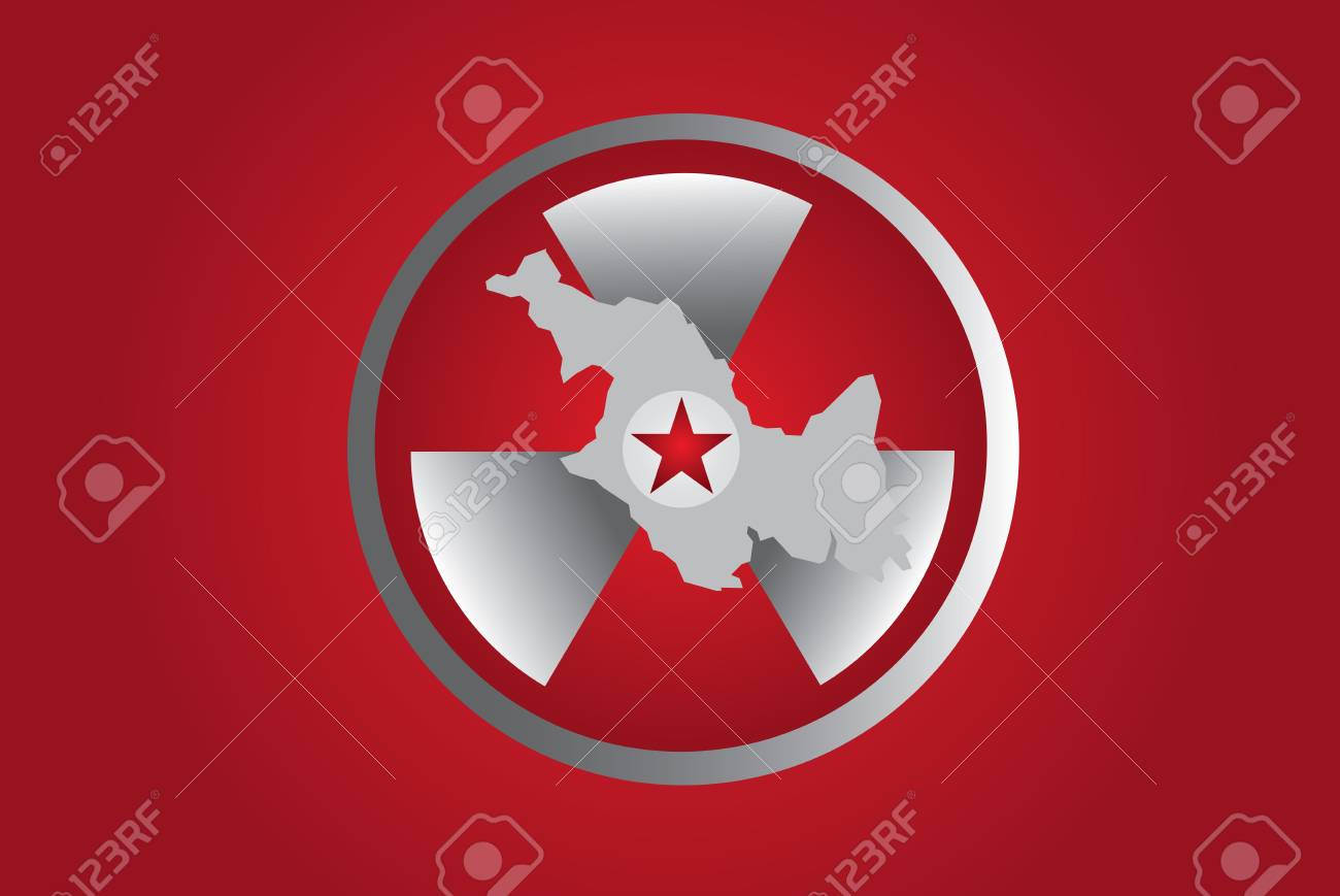 PYONGYANG, NORTH KOREA - North Korean Nuclear Symbol for all the tests they're having. Stock Photo - 89387973