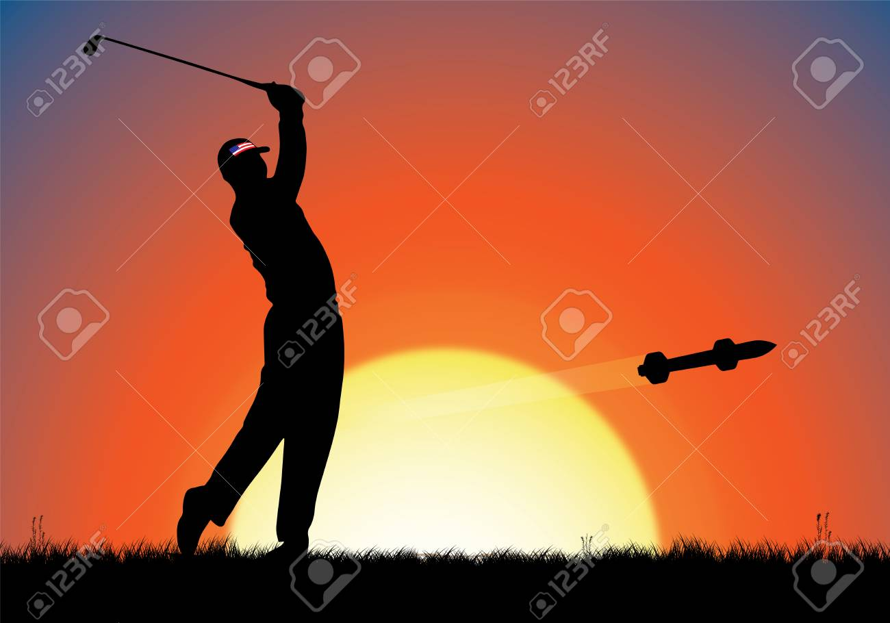 NEW JERSEY, USA, September 28 to October 1, 2017 - Precision Golf, The Presidents Cup. Digital Illustration of a golfer and a guided missile golf ball. Stock Photo - 89388002