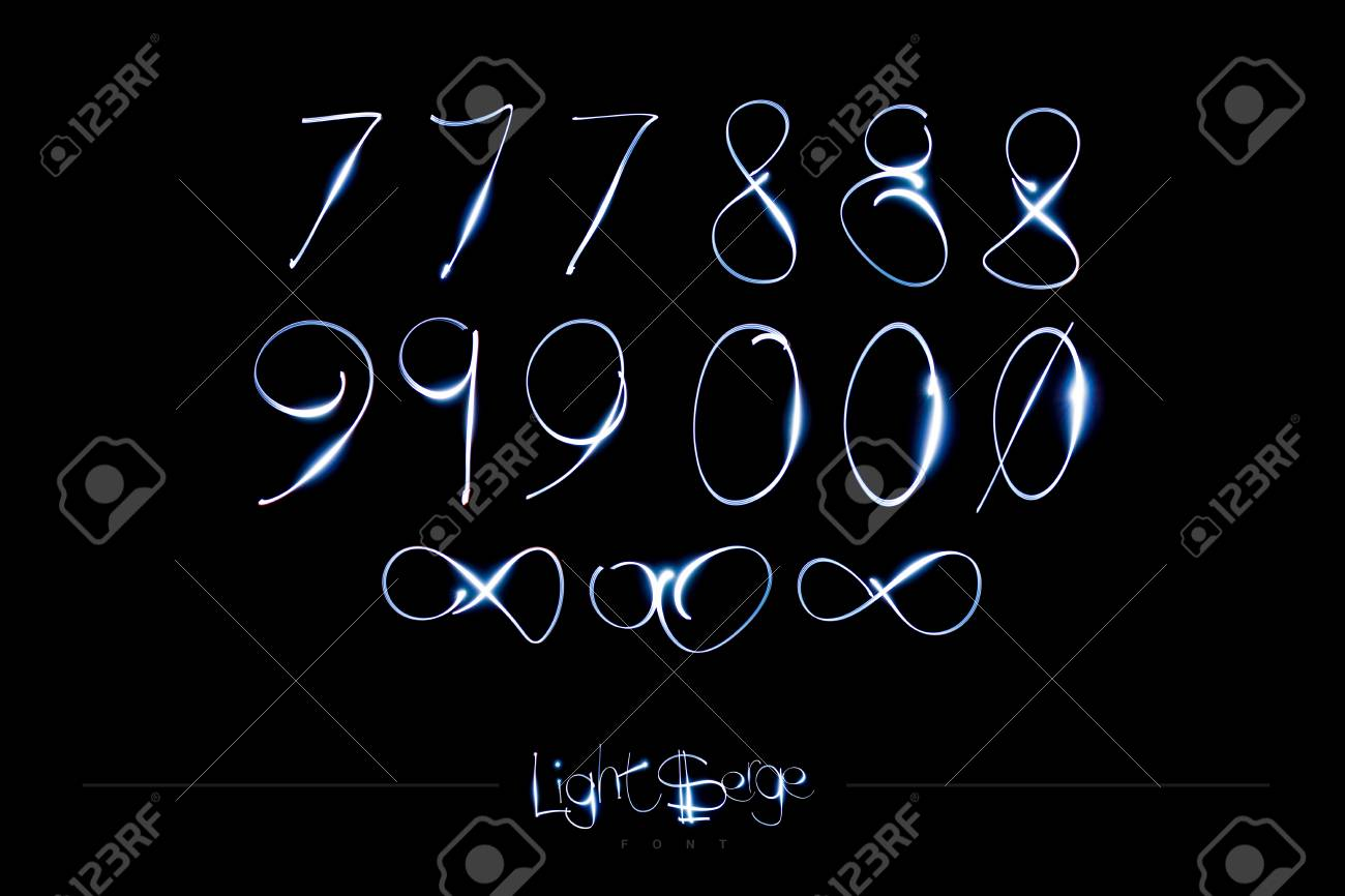 Light Painting Alphabet - Light Serge Numbers 7890 Stock Photo - 90707660
