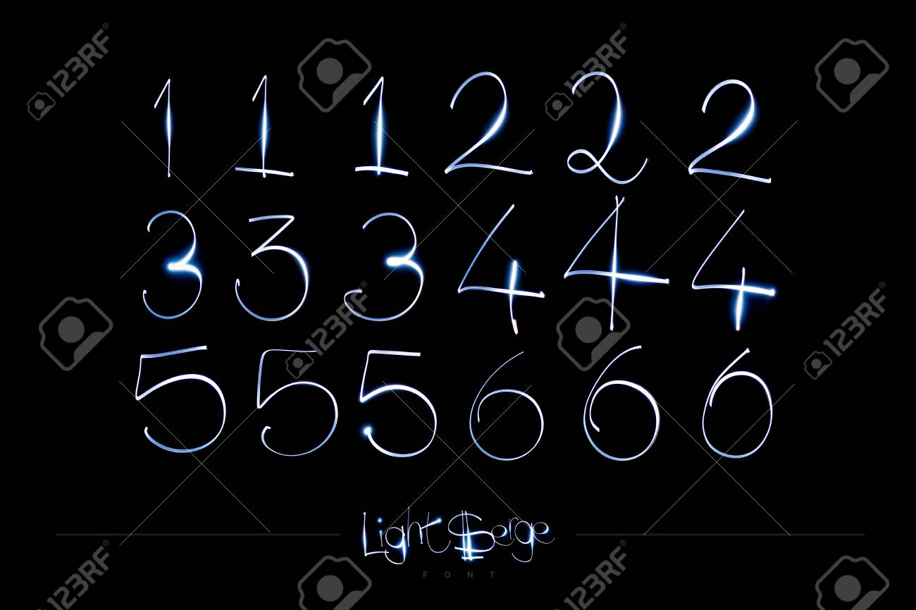 Light Painting Alphabet - Light Serge Numbers 123456 Stock Photo - 90674249