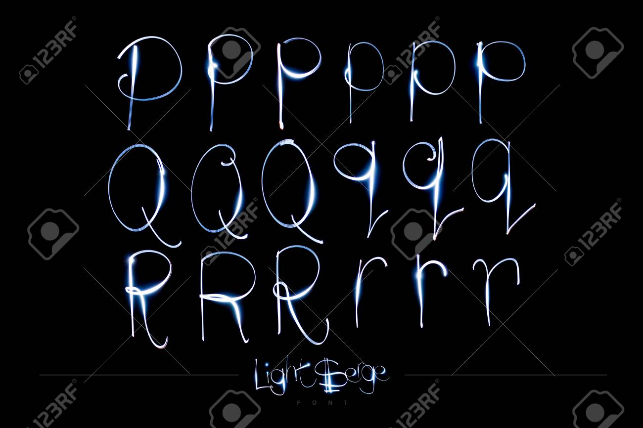Light Painting Alphabet - Light Serge Font PQR Stock Photo - 90738632