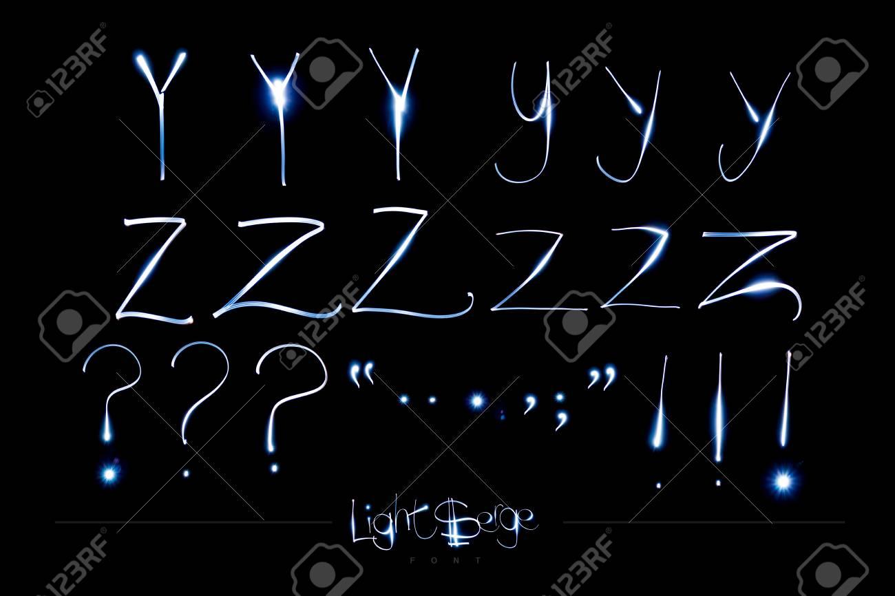 Light Painting Alphabet - Light Serge YZ and Punctuation Stock Photo - 90707661