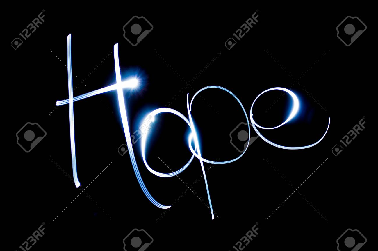 Light painting the word Hope. Stock Photo - 90738634