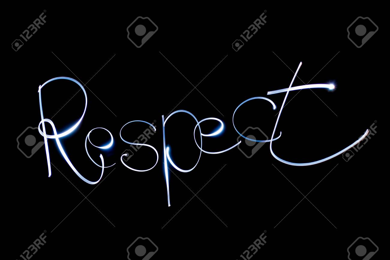 Light painting the word Respect. Stock Photo - 90659791