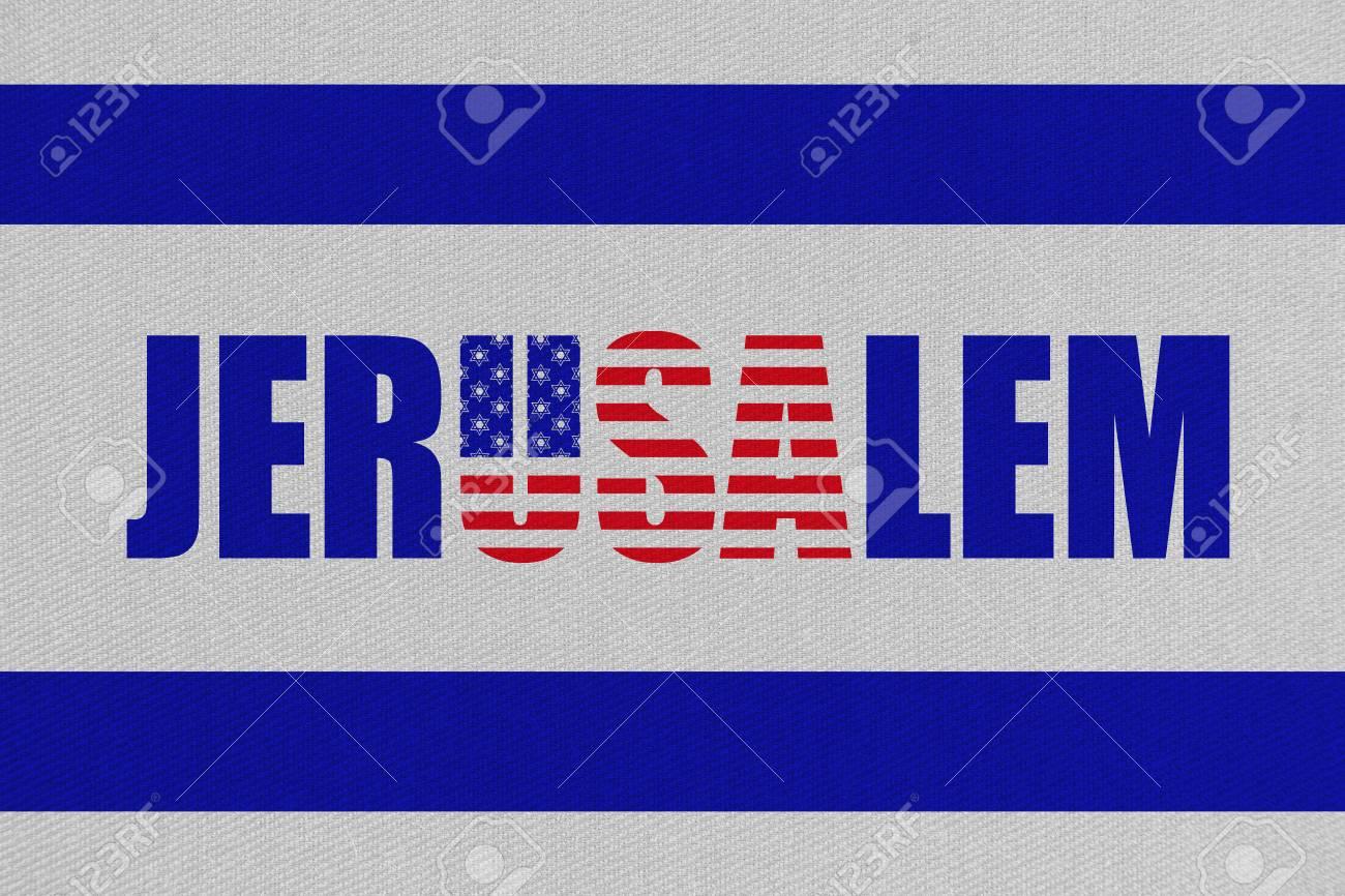 Illustration of idea to move US embassy to Jerusalem, new capital of Israel. Stock Illustration - 91053744
