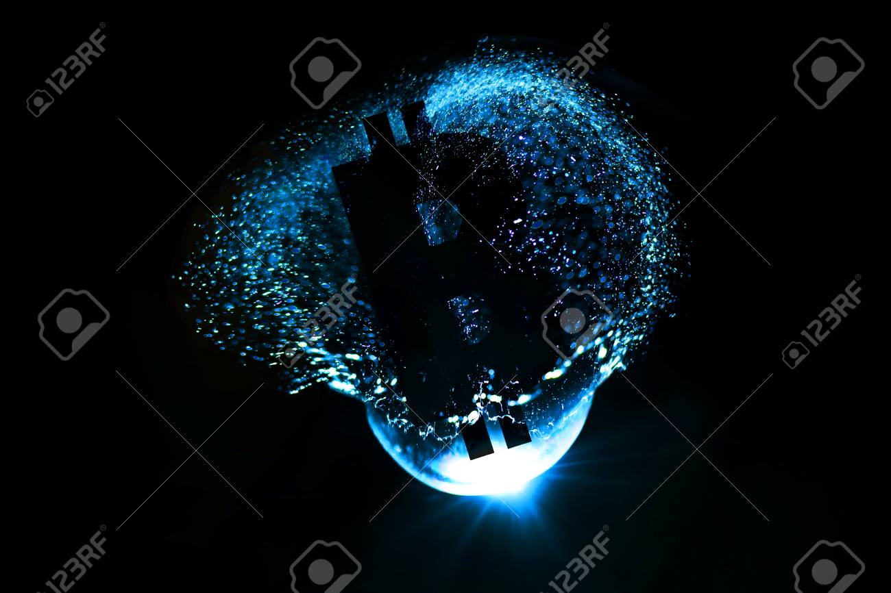 3D Rendering of idea Bitcoin bubble may burst. Stock Photo - 91661036
